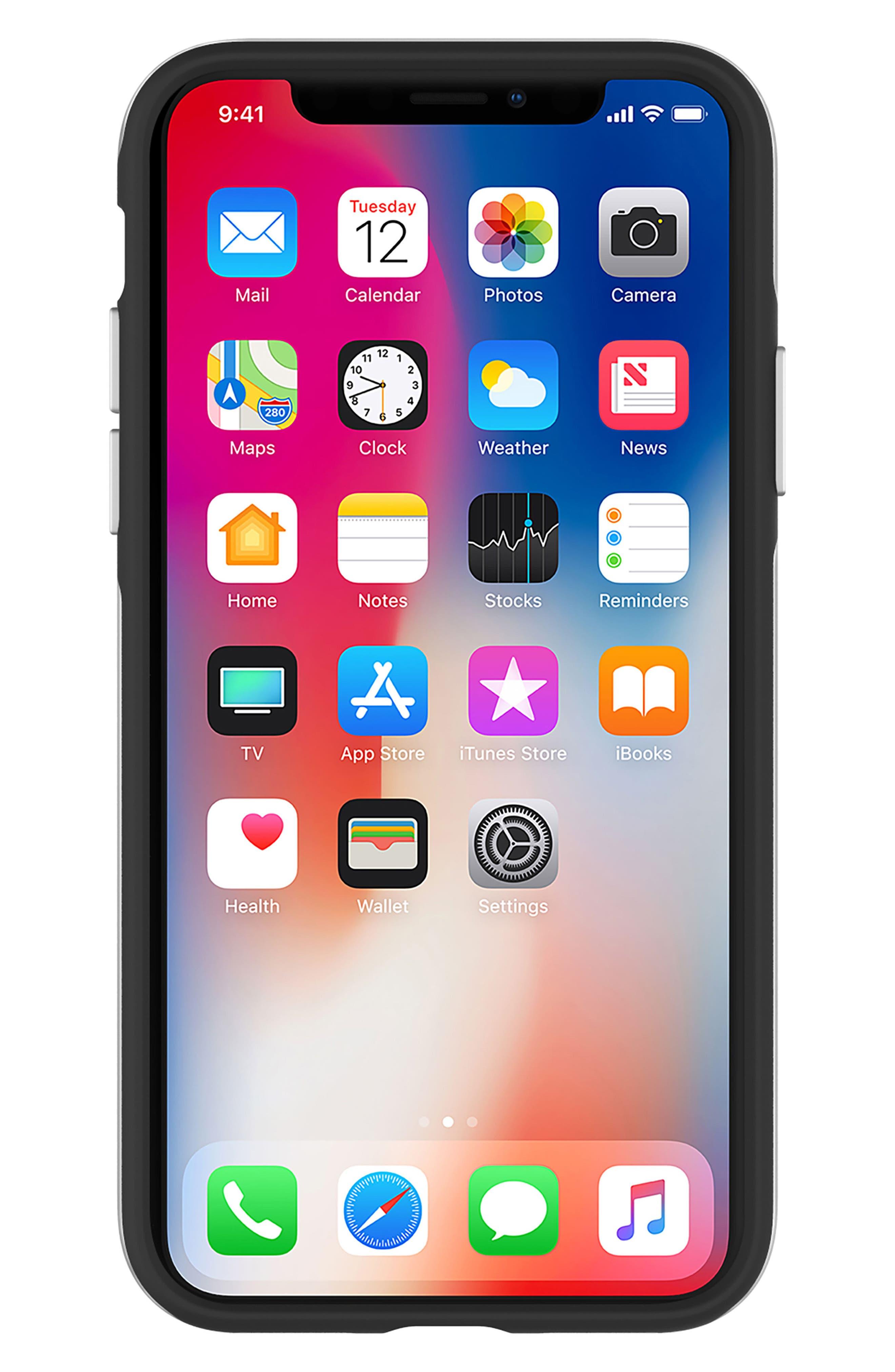 Inlay Jem Leather iPhone X Case,                             Alternate thumbnail 2, color,                             Multi Gems/ Studs/ Black