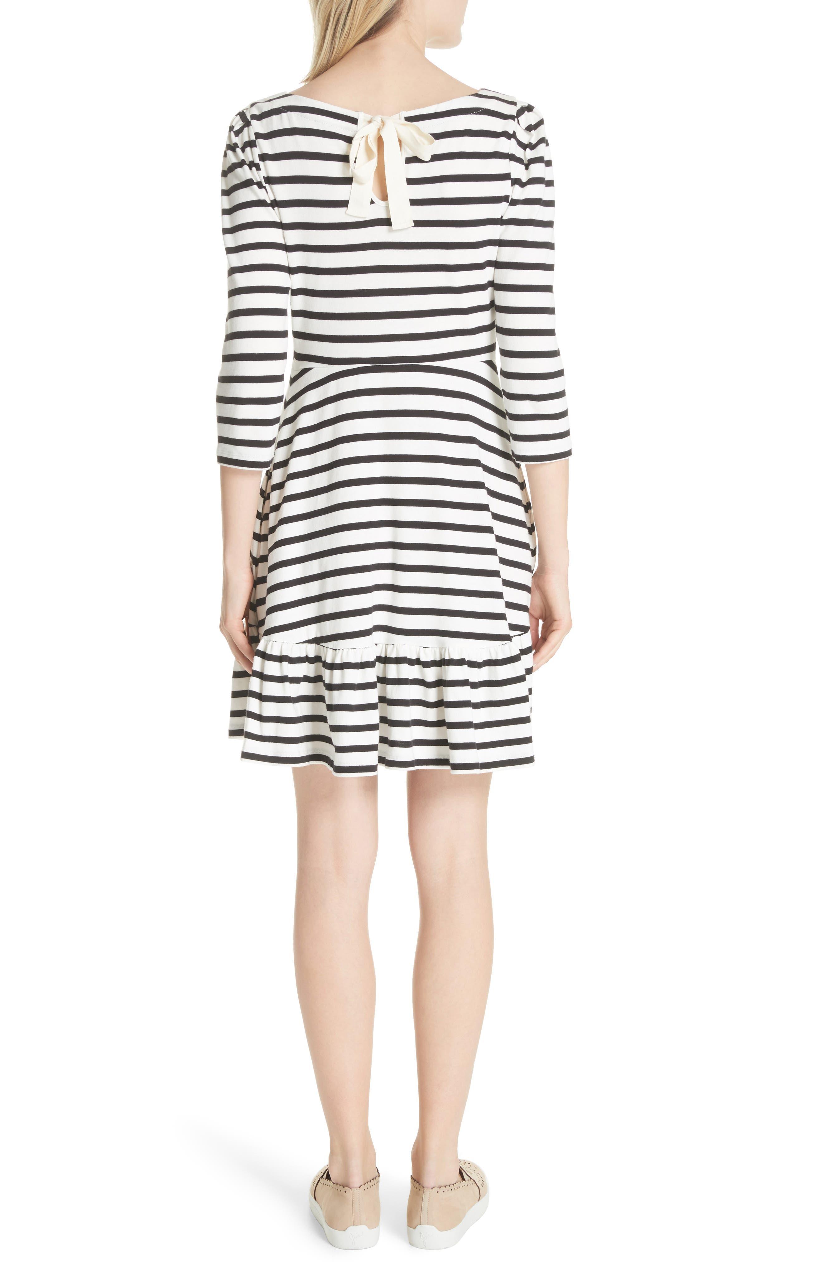 stripe fit & flare dress,                             Alternate thumbnail 2, color,                             Off-White/ Black