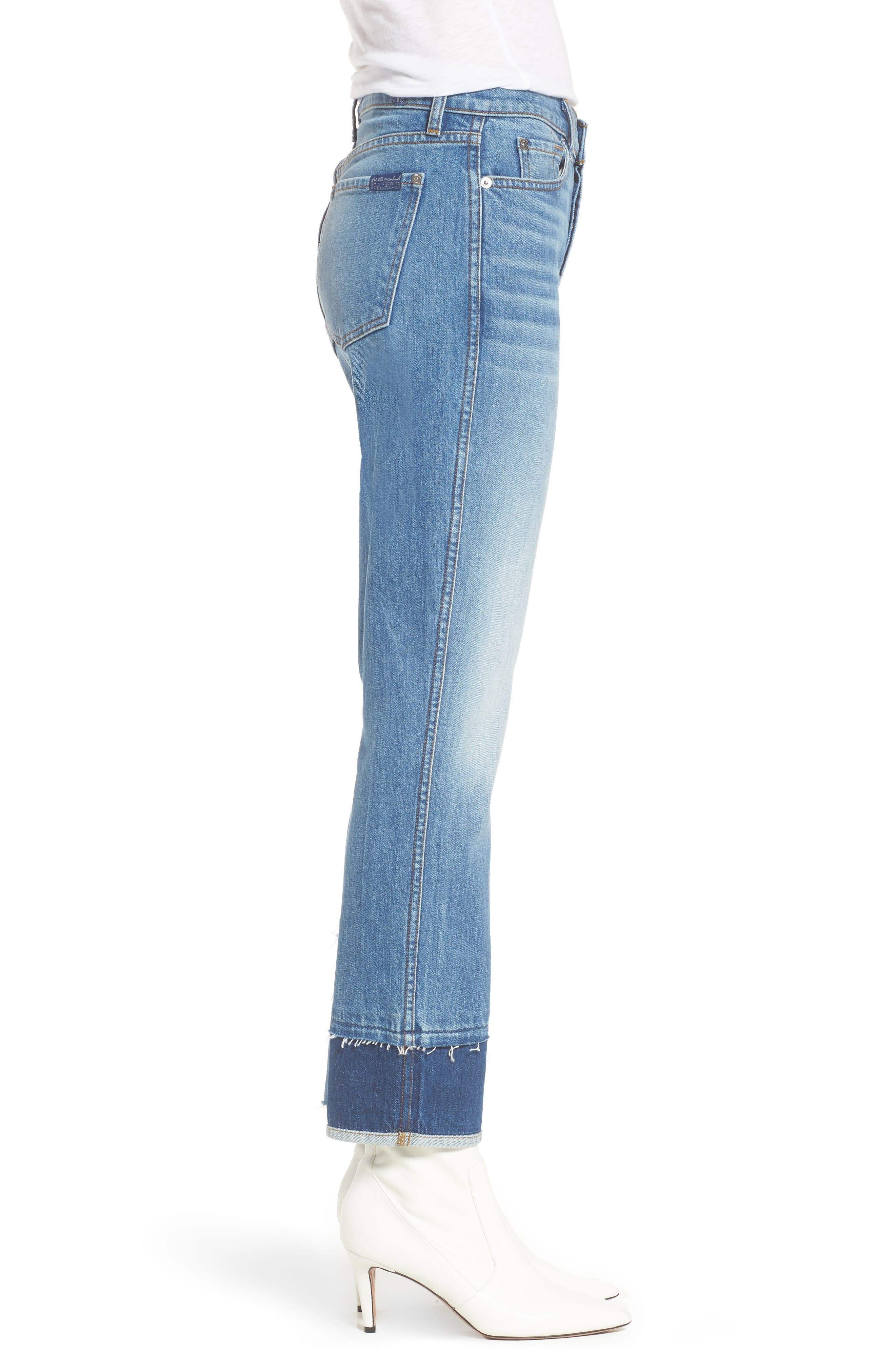 Edie Pieced Hem Cropped Jeans,                             Alternate thumbnail 3, color,                             Vintage Blue Dunes 2