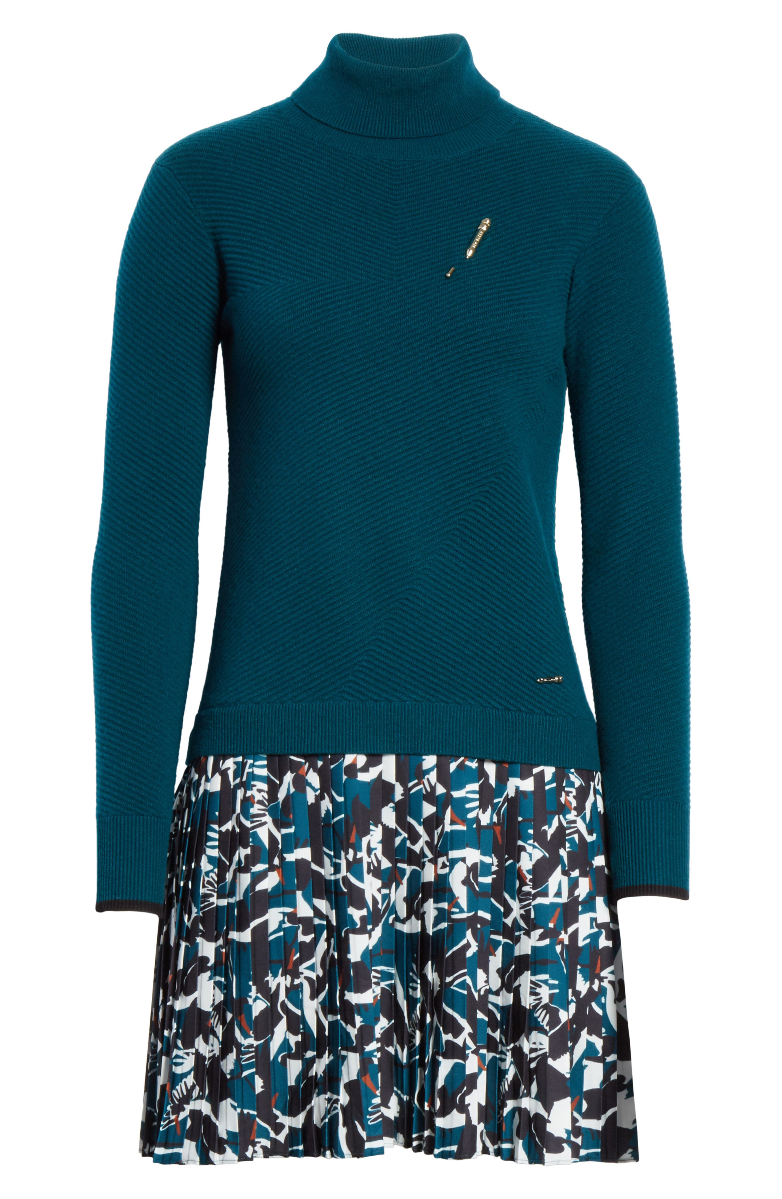 Colour by Numbers Mock Two-Piece Dress,                             Alternate thumbnail 6, color,                             Teal