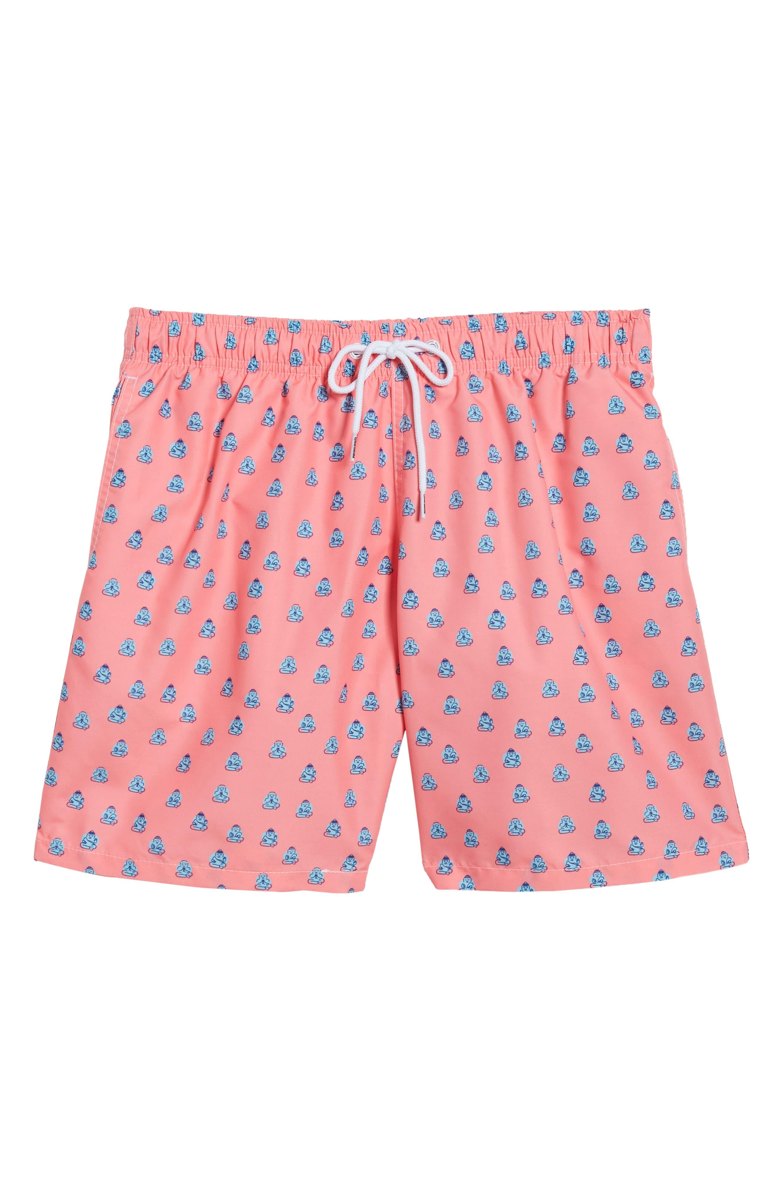 Polka Zen Swim Shorts,                             Alternate thumbnail 6, color,                             Pink