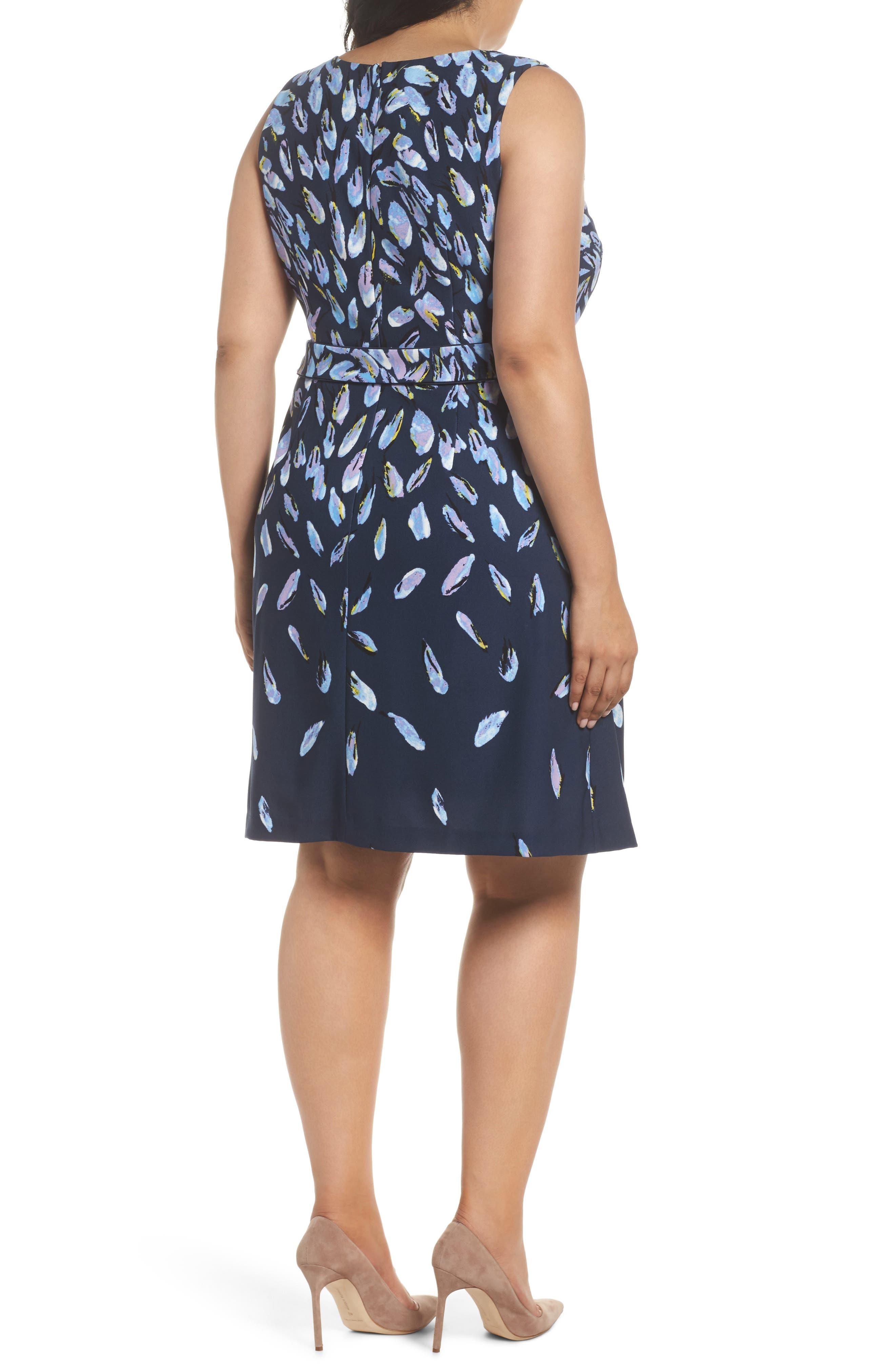 Fluttering Petals Fit & Flare Dress,                             Alternate thumbnail 2, color,                             Navy Multi