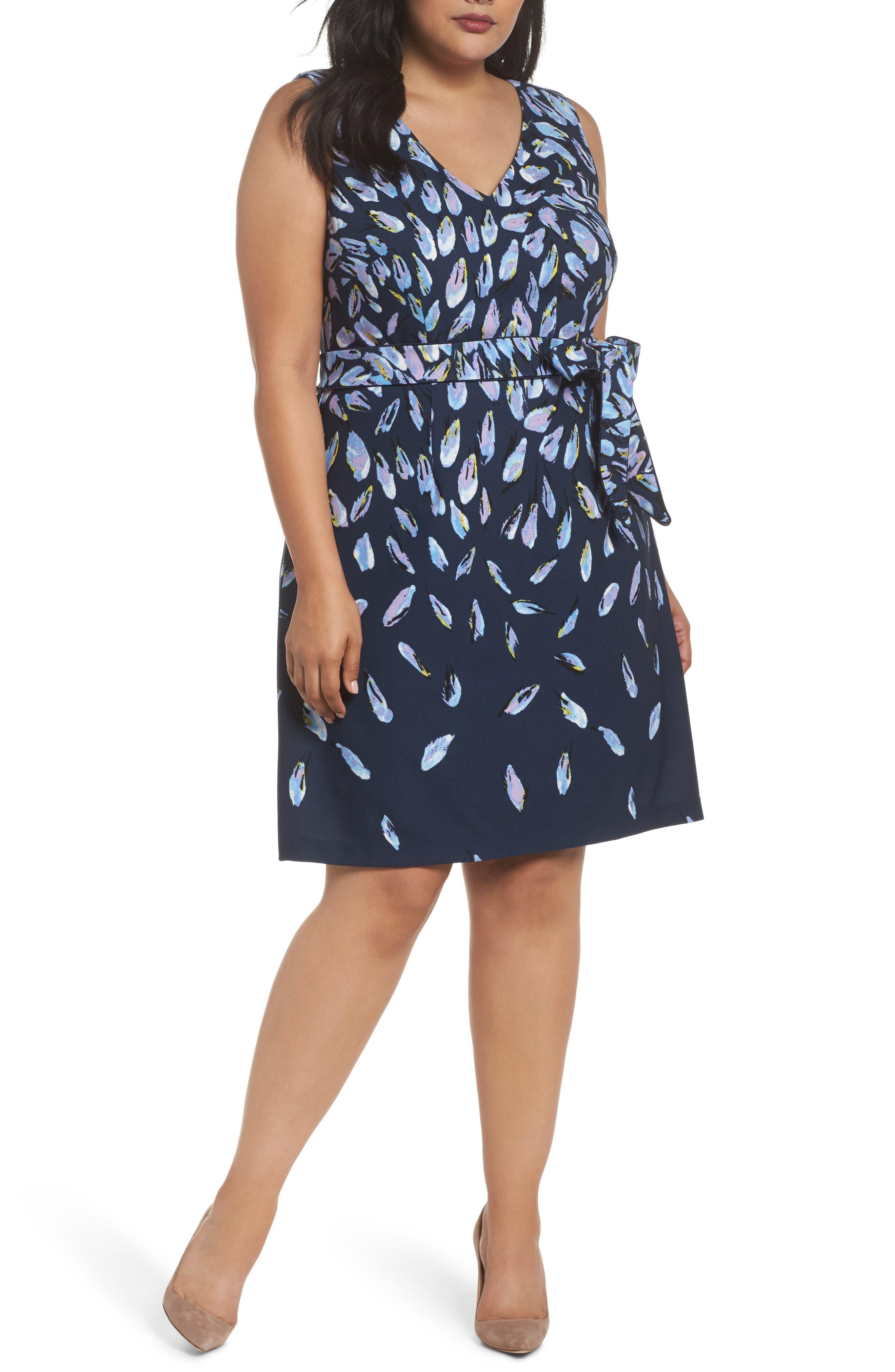 Fluttering Petals Fit & Flare Dress,                         Main,                         color, Navy Multi