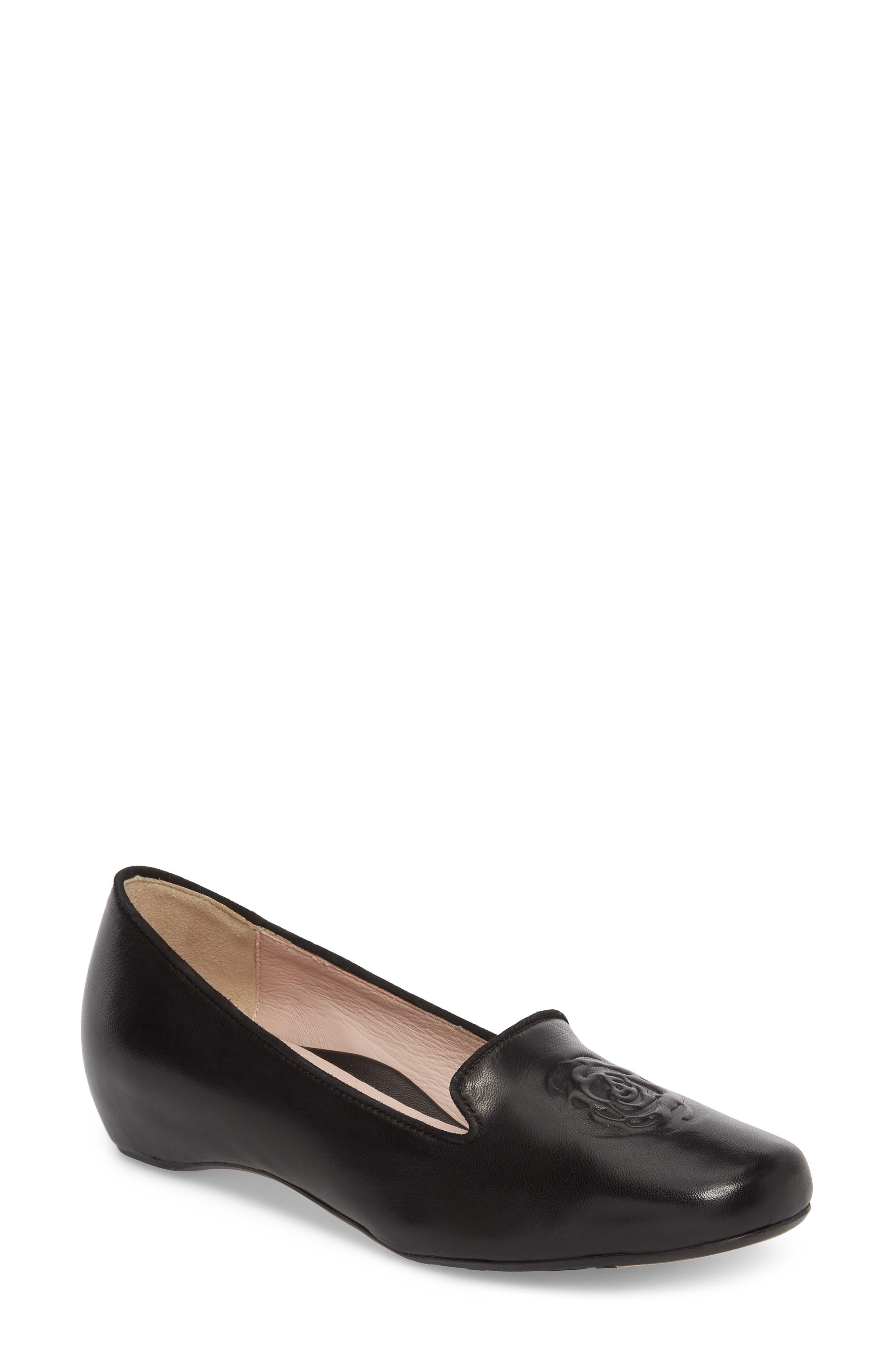 Taryn Rose Belissa Loafer,                             Main thumbnail 1, color,                             Black Leather