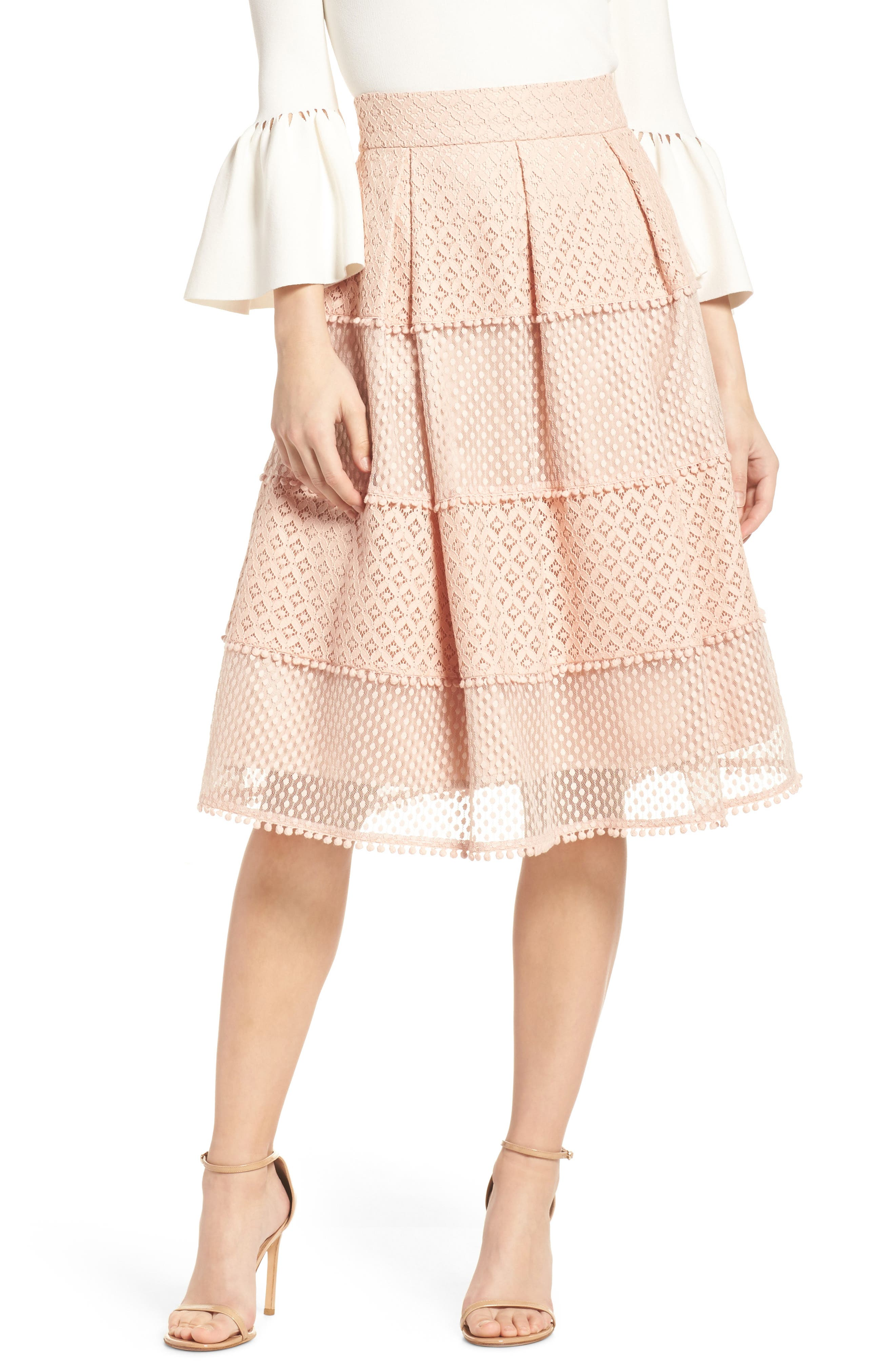 Banded Lace Midi Skirt,                             Main thumbnail 1, color,                             Blush