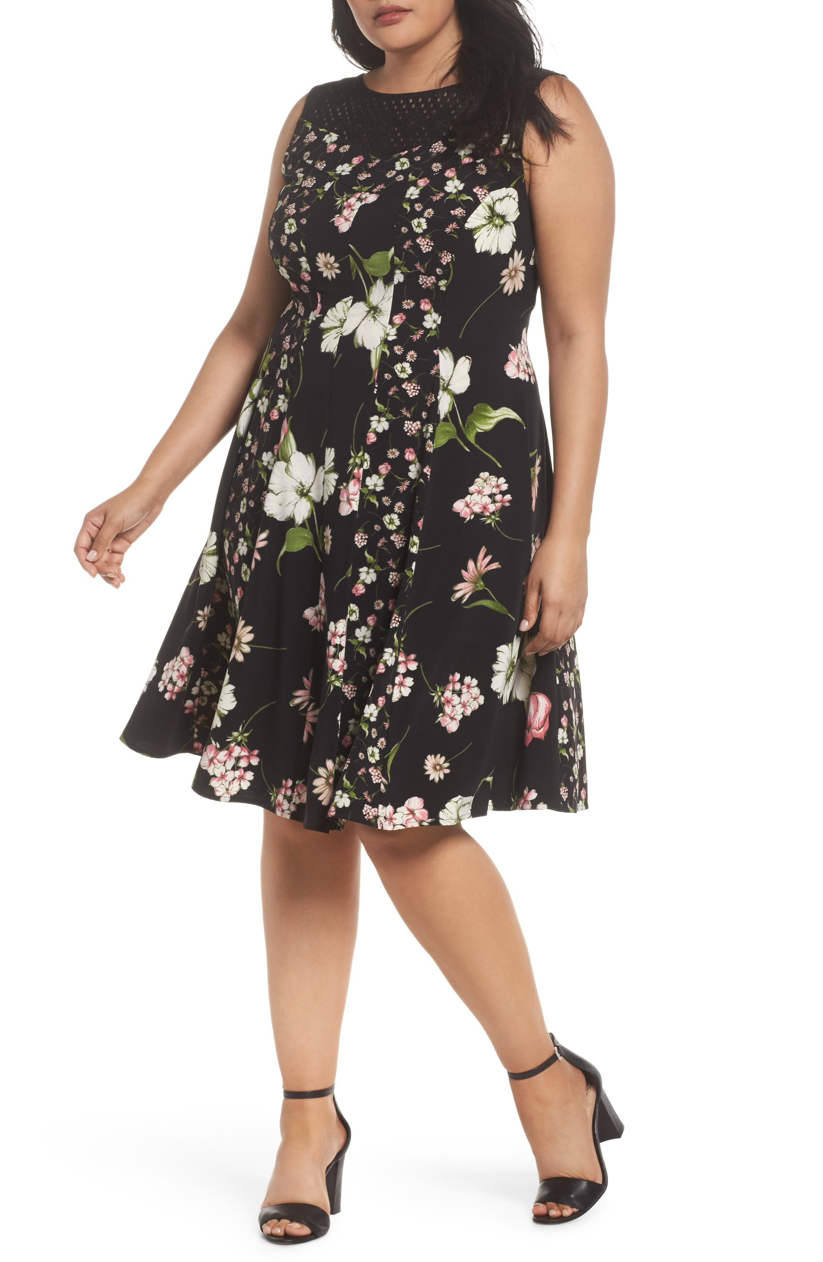 Gabby Skye Lace Yoke Floral Fit & Flare Dress (Plus Size)