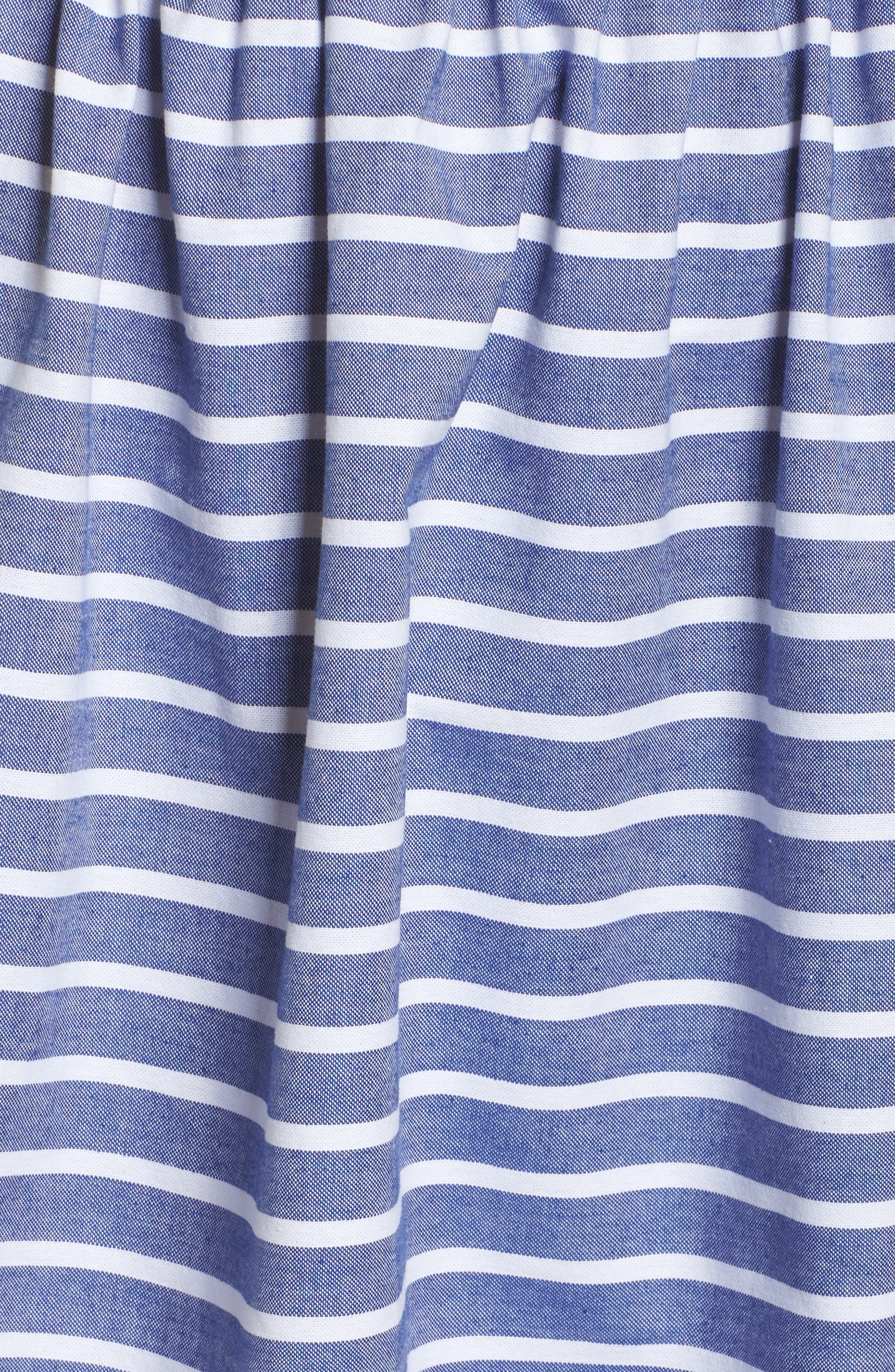 Stripe Off the Shoulder Dress,                             Alternate thumbnail 5, color,                             Navy/ Ivory
