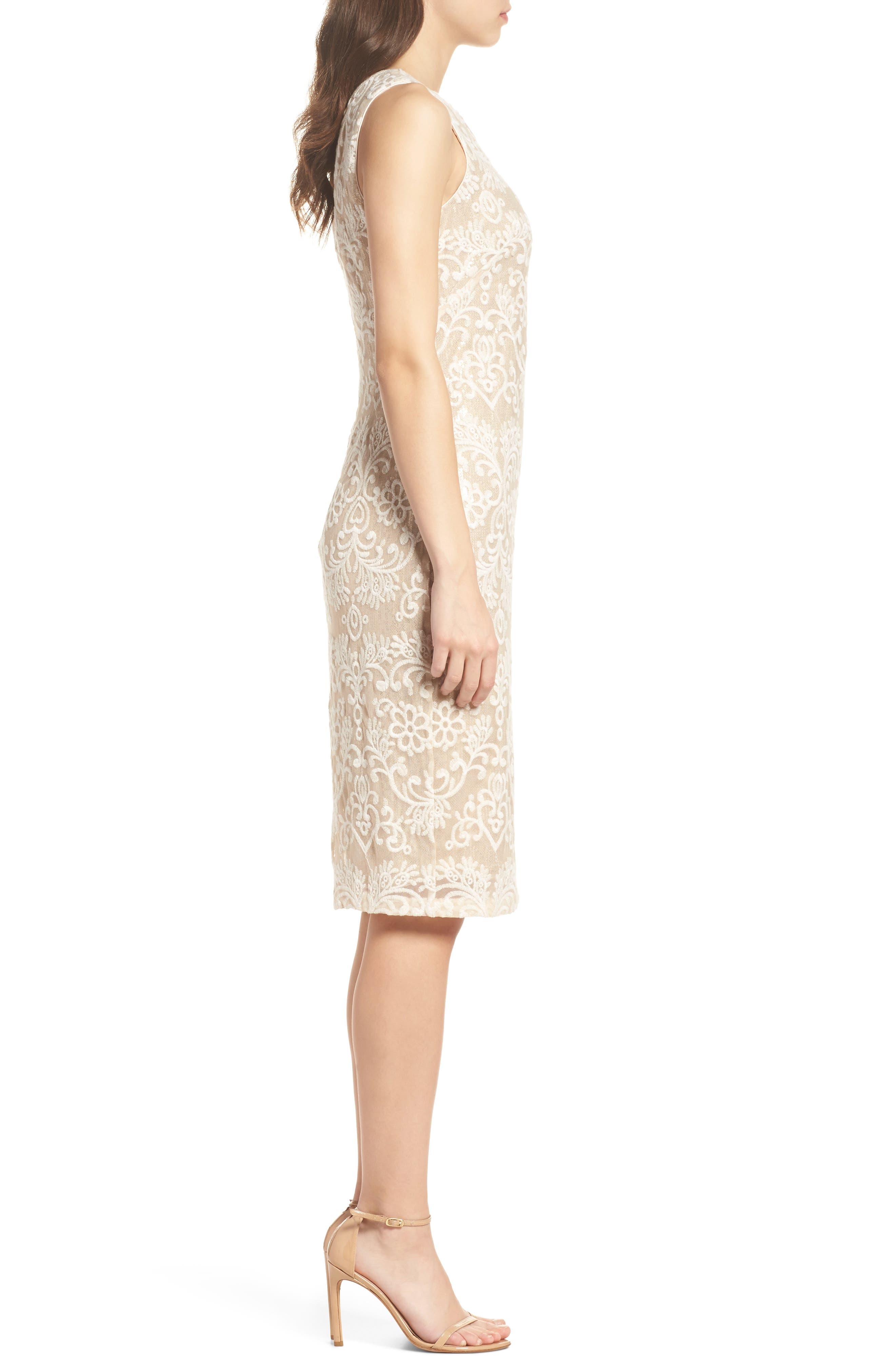 Embroidered Sequin Mesh Sheath Dress,                             Alternate thumbnail 3, color,                             Ivory/ Gold