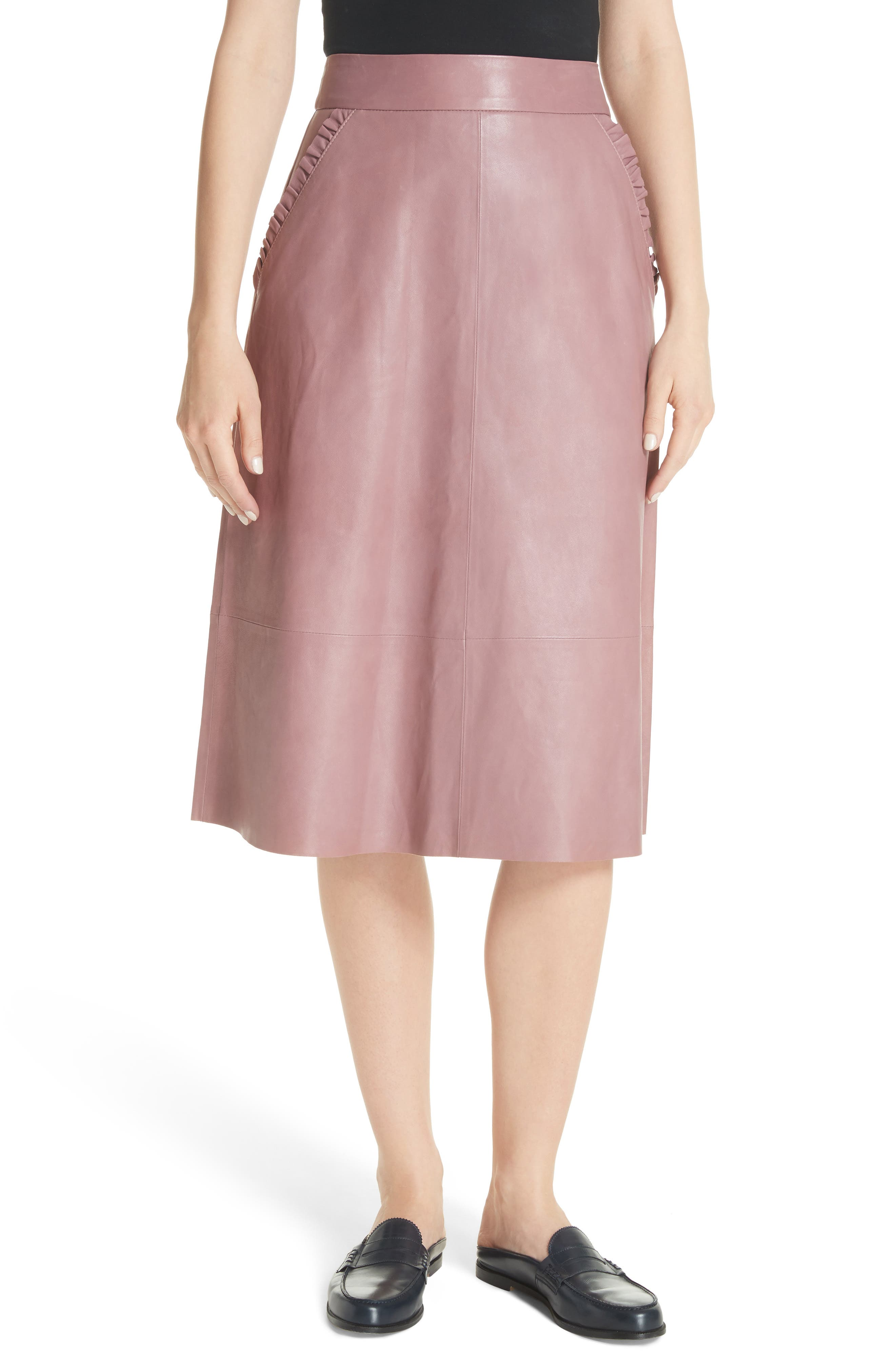 kate spade new york pacey A-line leather skirt