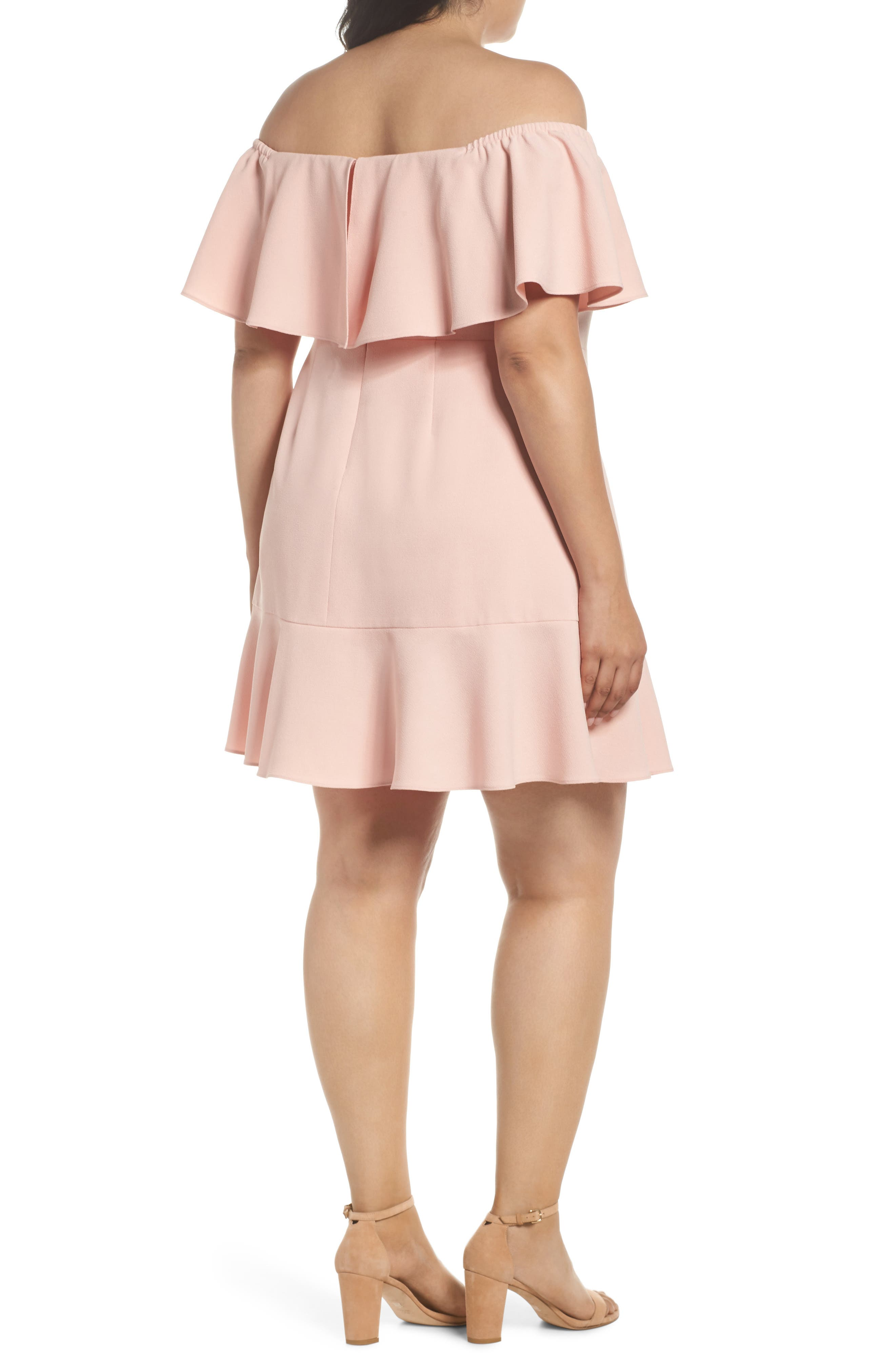 Off the Shoulder Crepe Dress,                             Alternate thumbnail 2, color,                             Blush