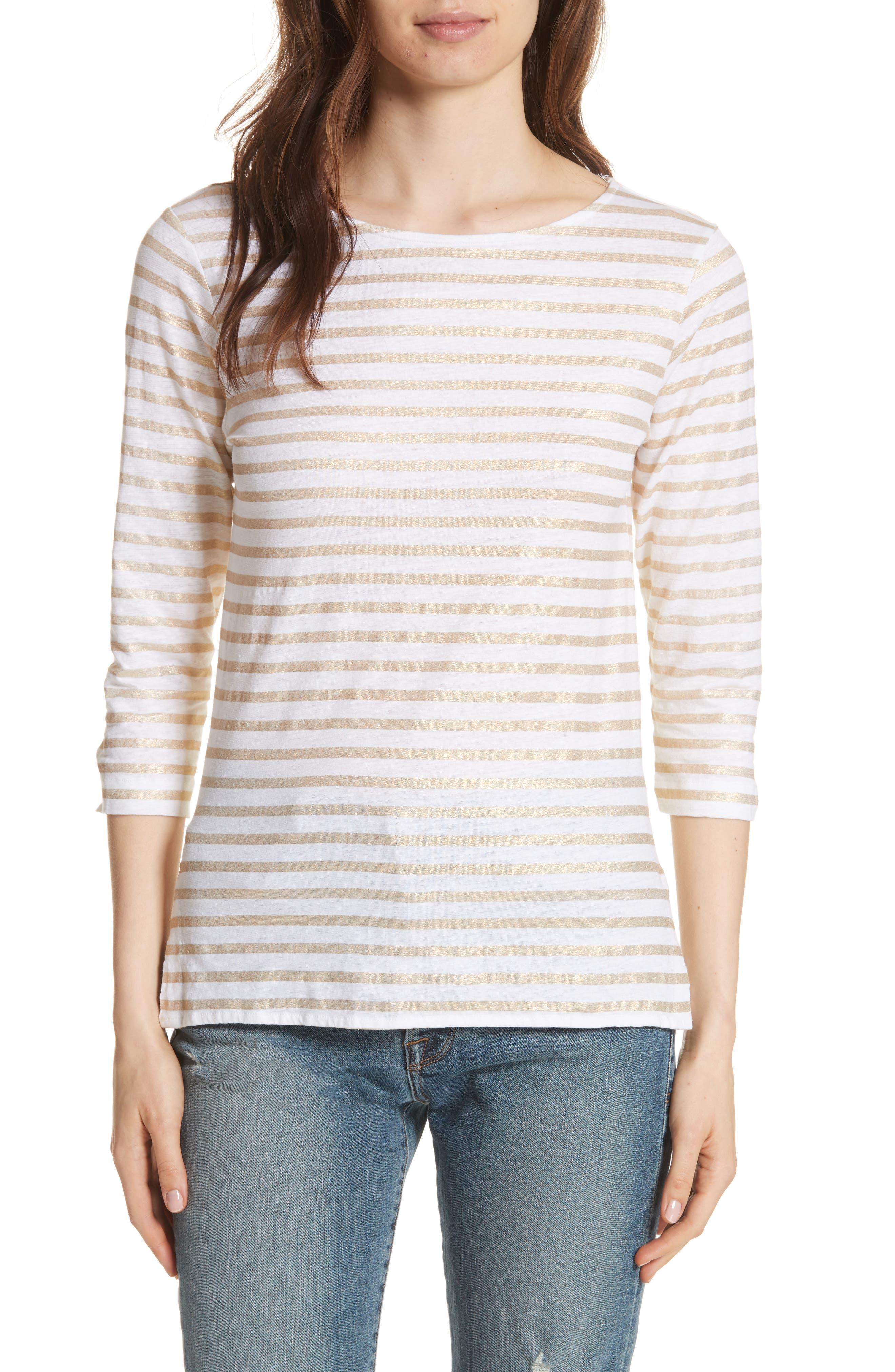 Linen Stretch Stripe Top,                             Main thumbnail 1, color,                             Blanc/ Gold Metal Stripe