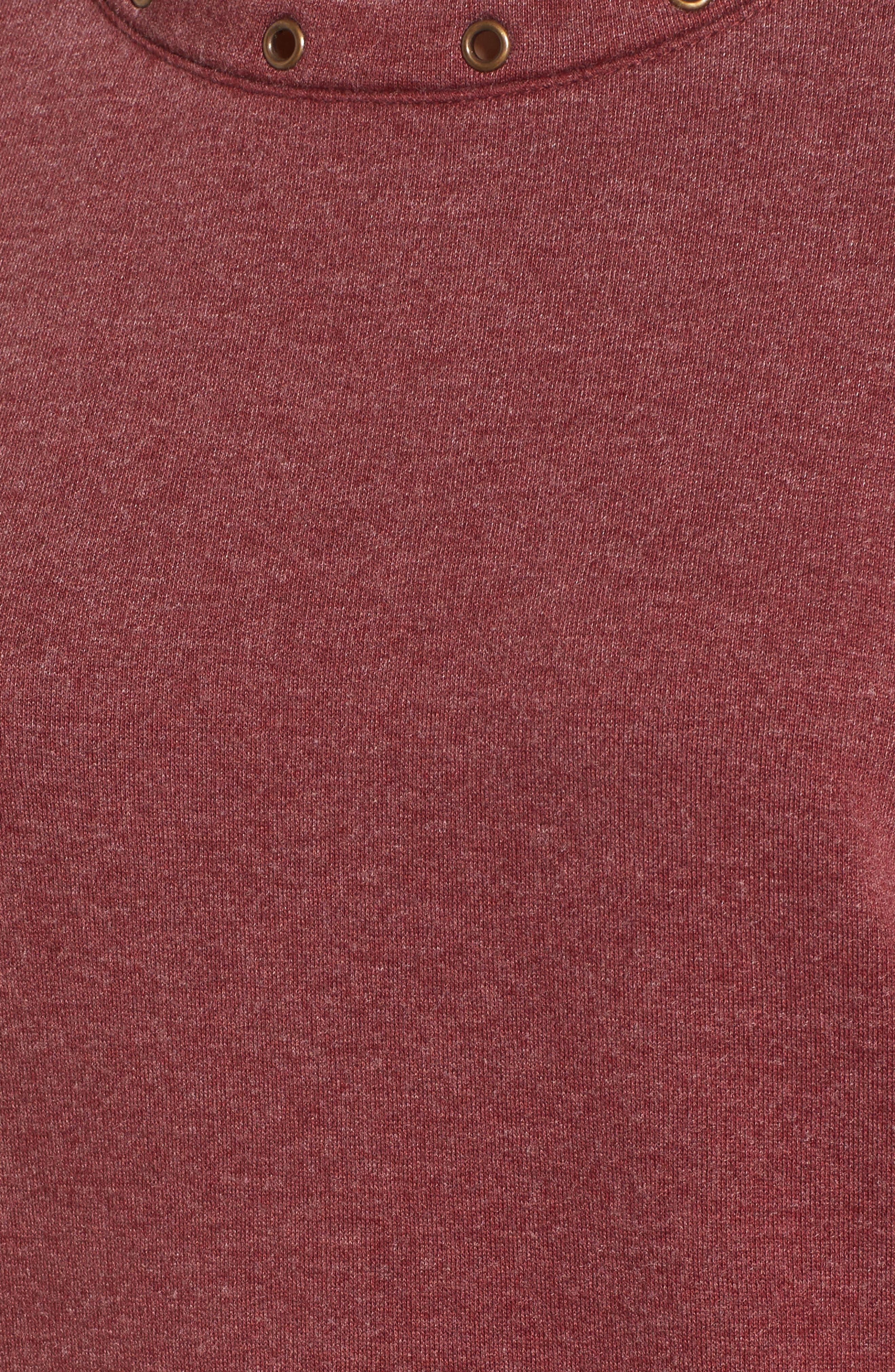 Cold Shoulder Sweatshirt,                             Alternate thumbnail 5, color,                             Burgundy