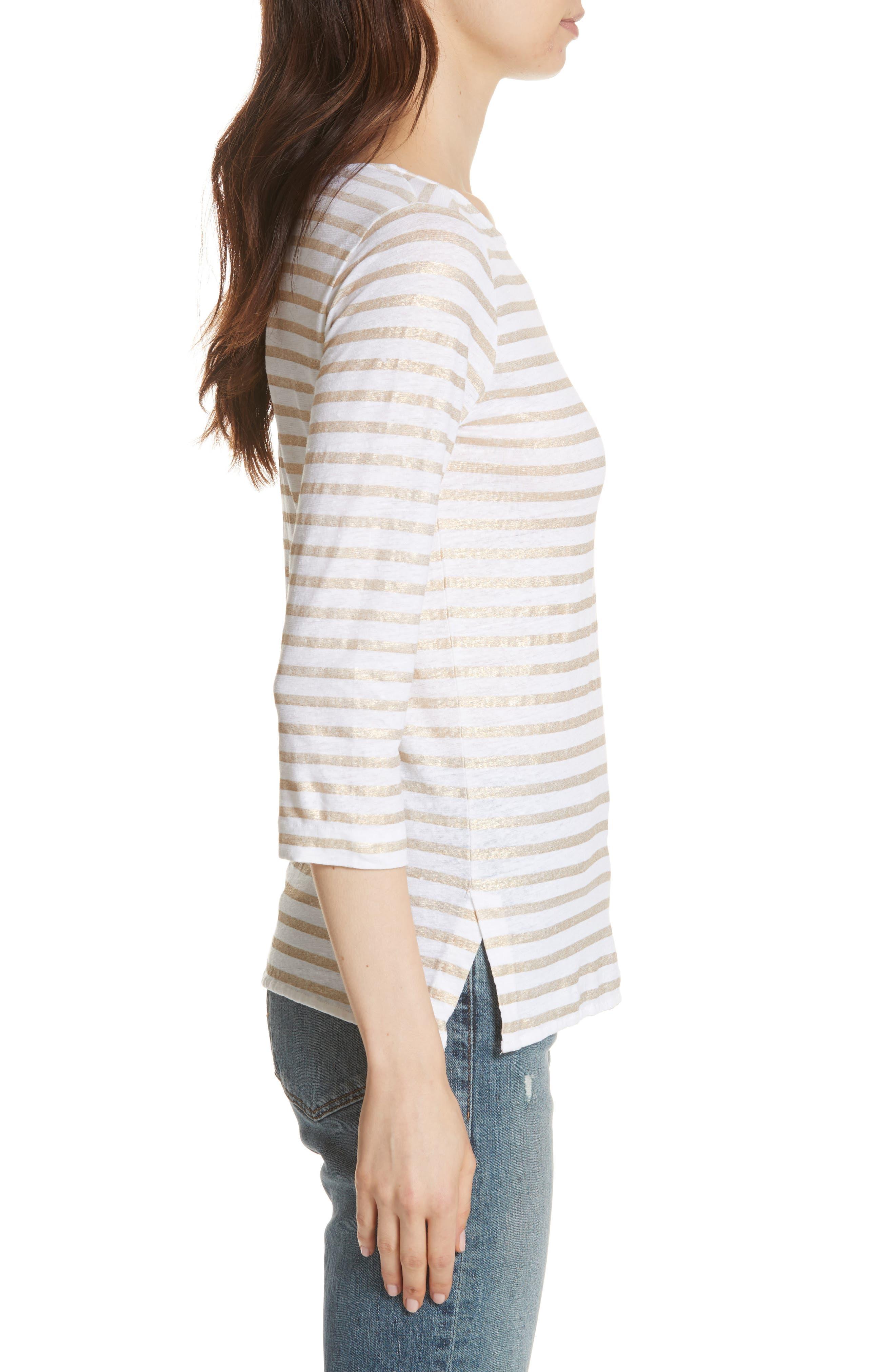 Linen Stretch Stripe Top,                             Alternate thumbnail 3, color,                             Blanc/ Gold Metal Stripe