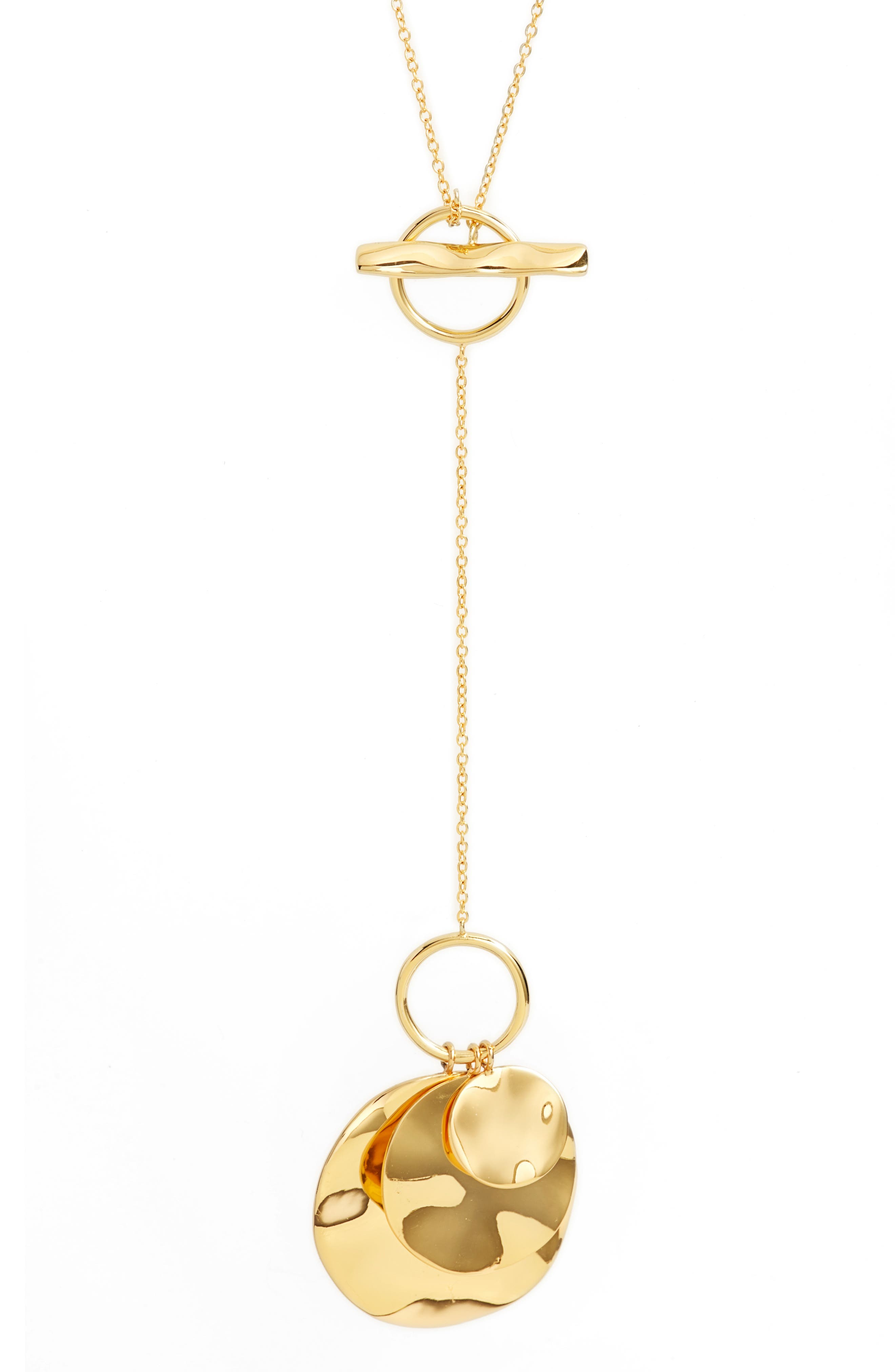 Chloe Hammered Disc Toggle Necklace,                             Alternate thumbnail 2, color,                             Gold