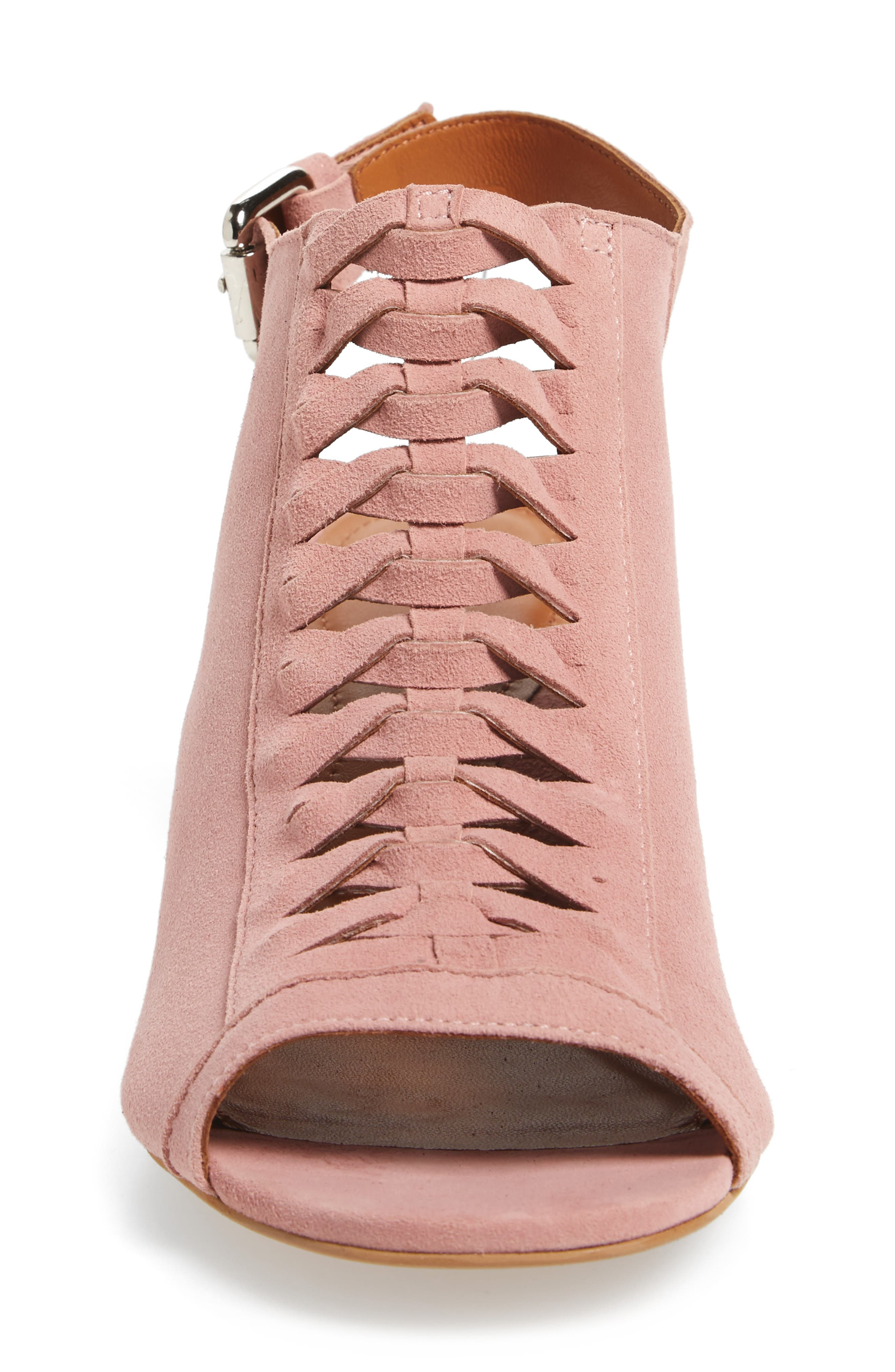 Dallas Woven Sandal,                             Alternate thumbnail 4, color,                             Blush Suede