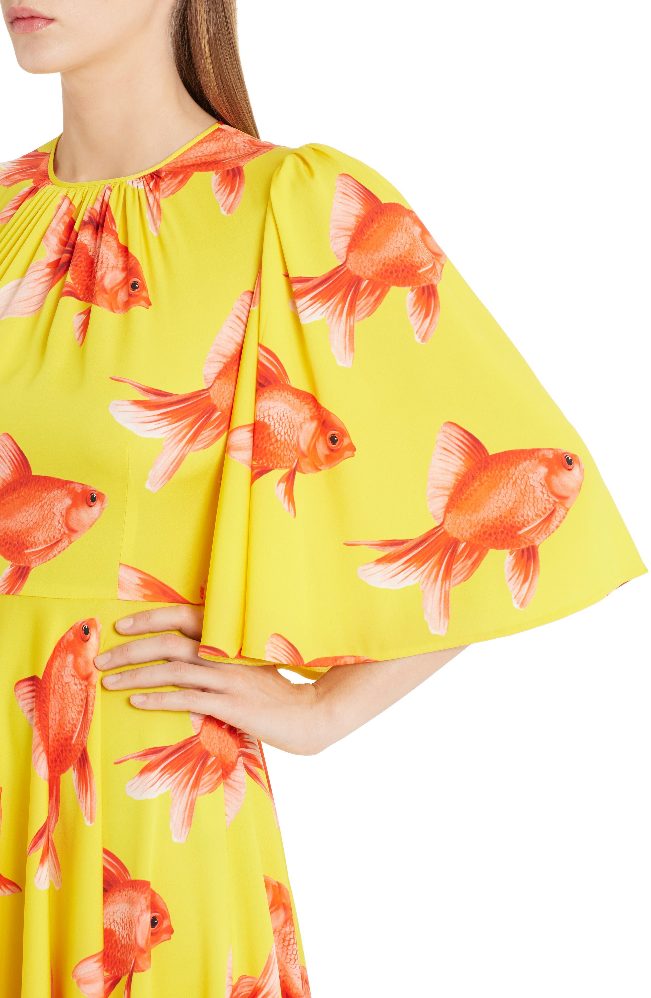 Goldfish Print Silk Blend Charmeuse Dress,                             Alternate thumbnail 5, color,                             Pesci