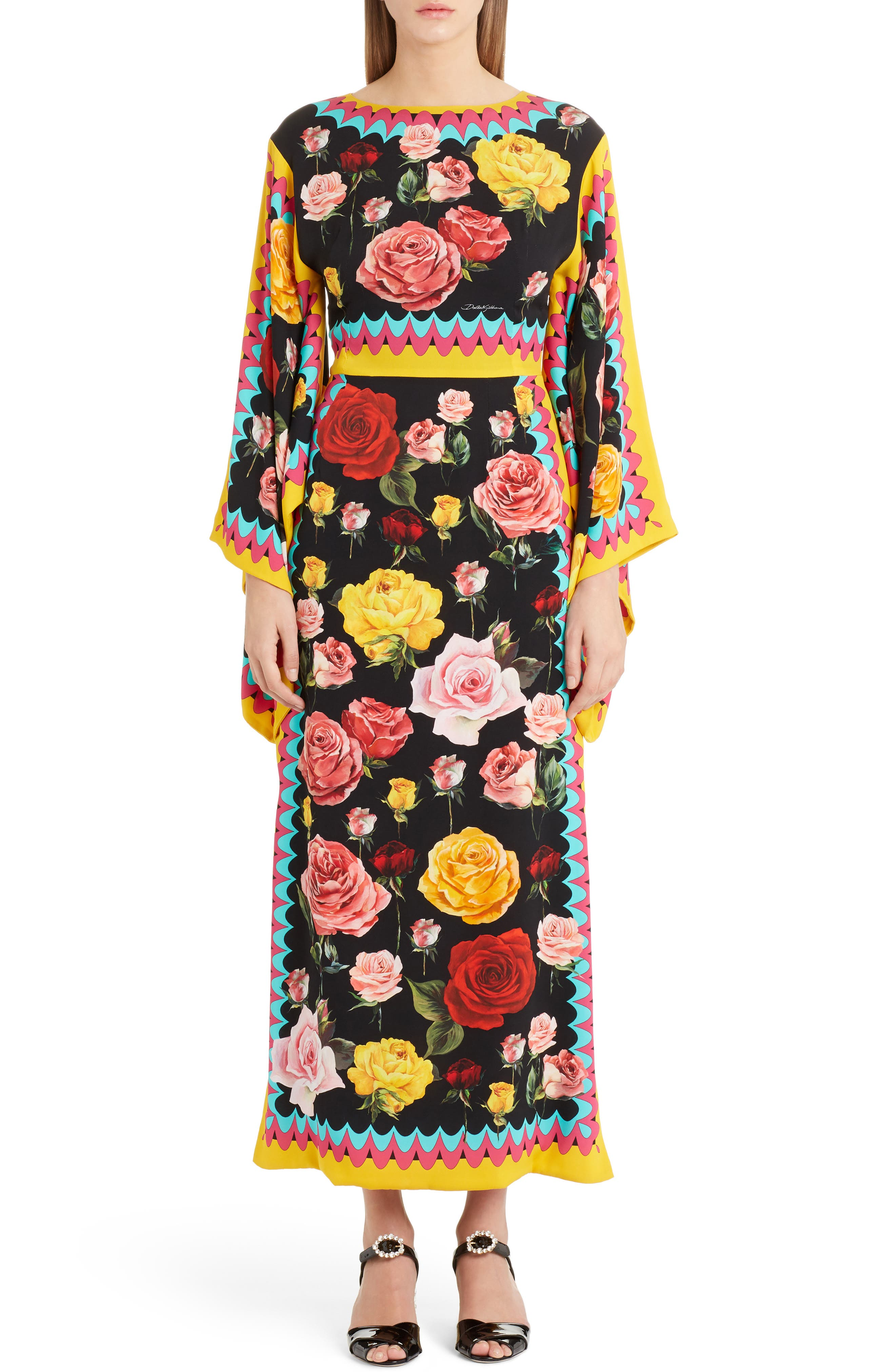 Dolce&Gabbana Charm Rose Print Stretch Silk Maxi Dress