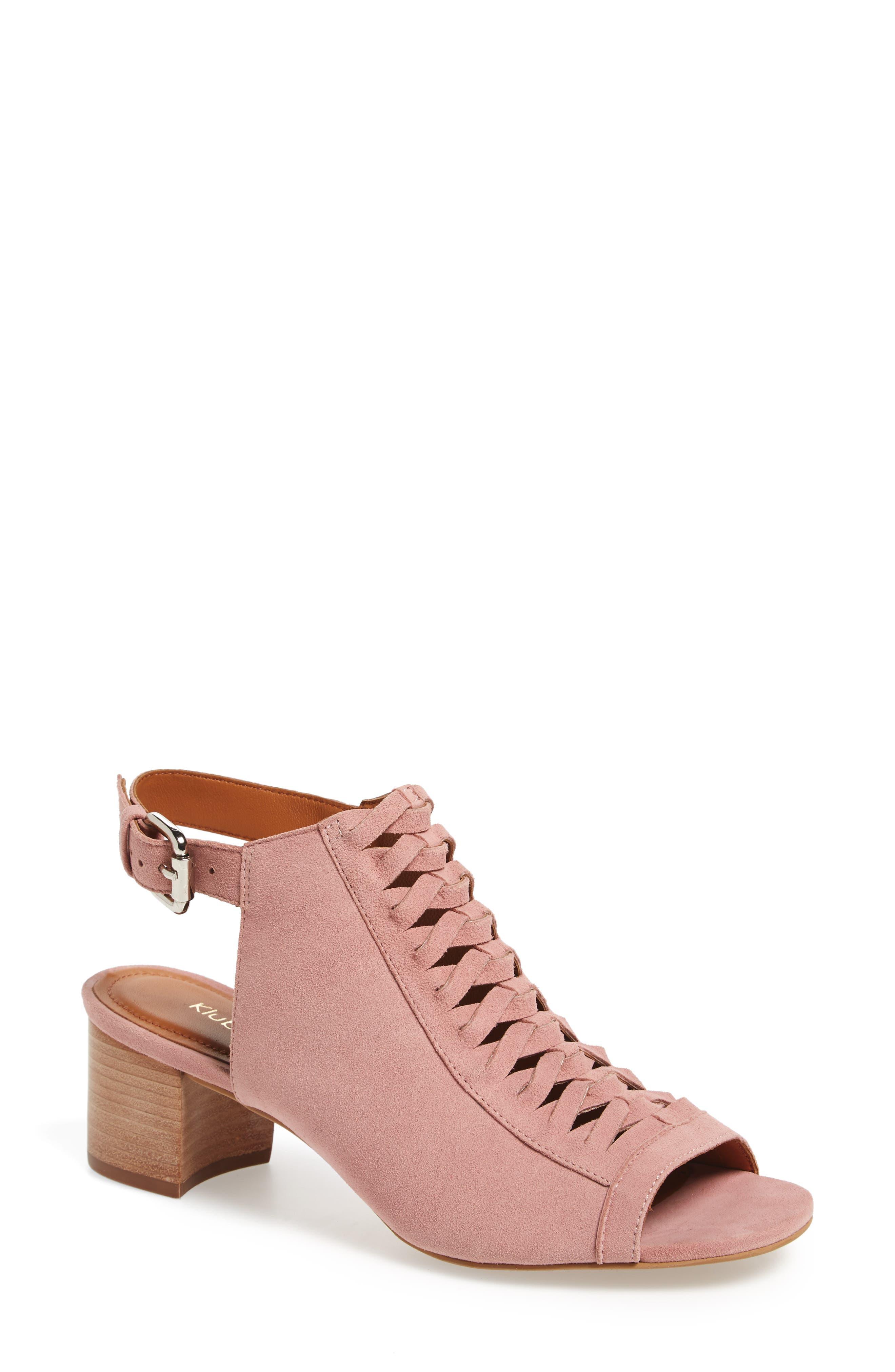 Dallas Woven Sandal,                         Main,                         color, Blush Suede