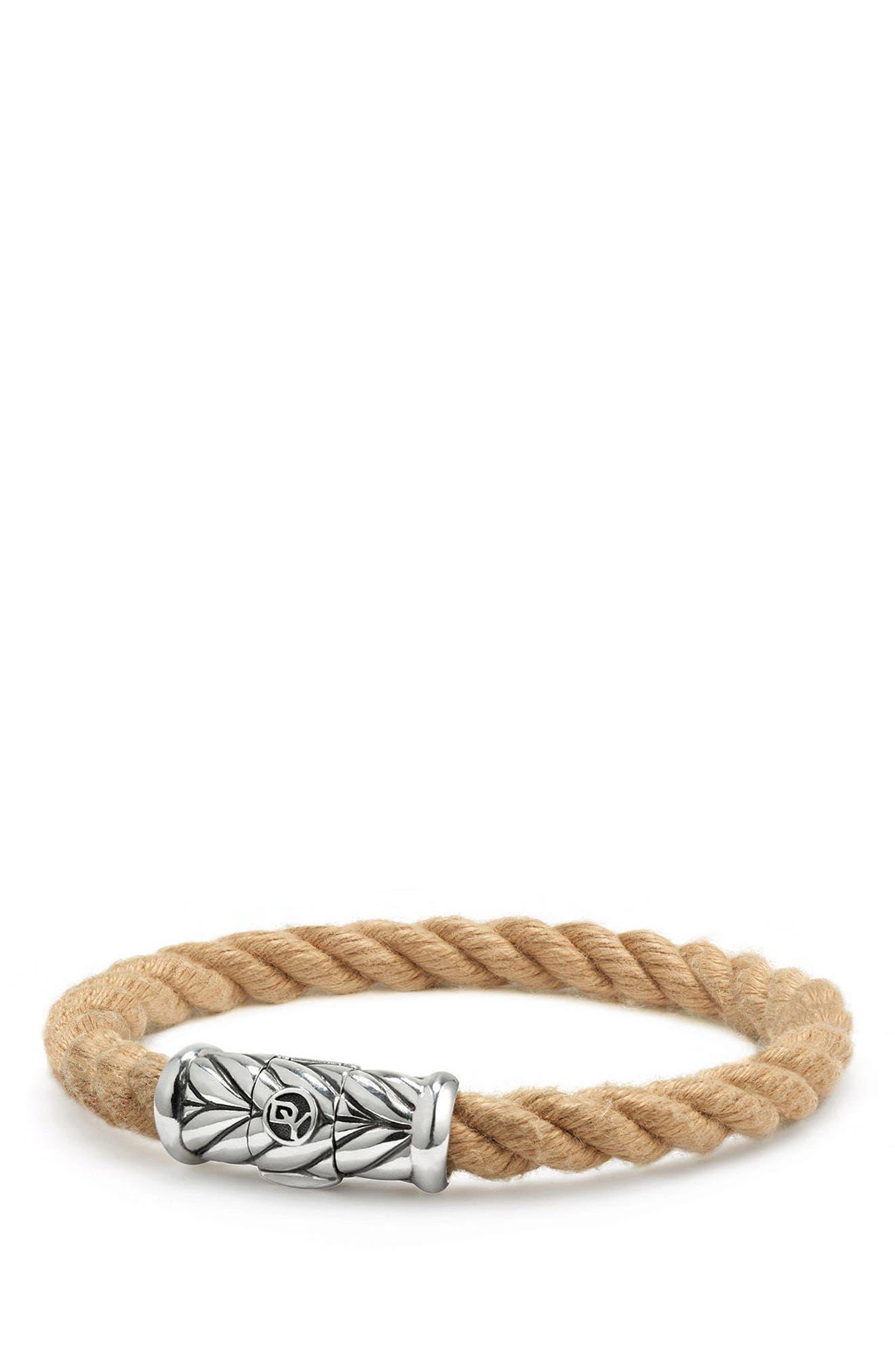 Maritime Rope Bracelet,                         Main,                         color, Silver