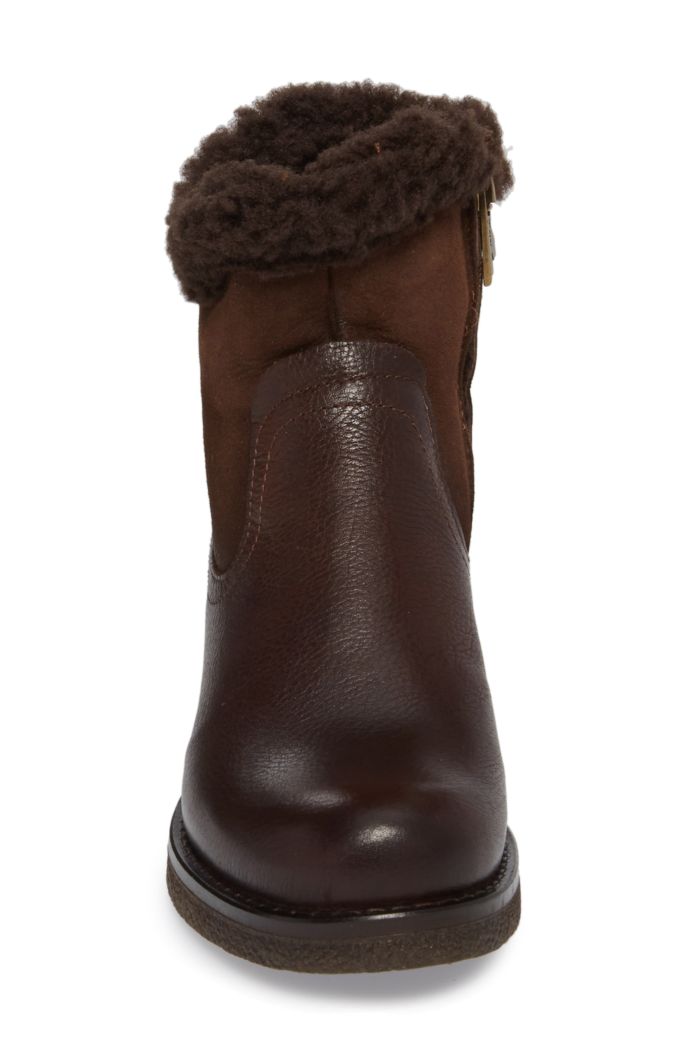 Odessa Waterproof Insulated Snow Boot,                             Alternate thumbnail 4, color,                             Brown Fur Leather