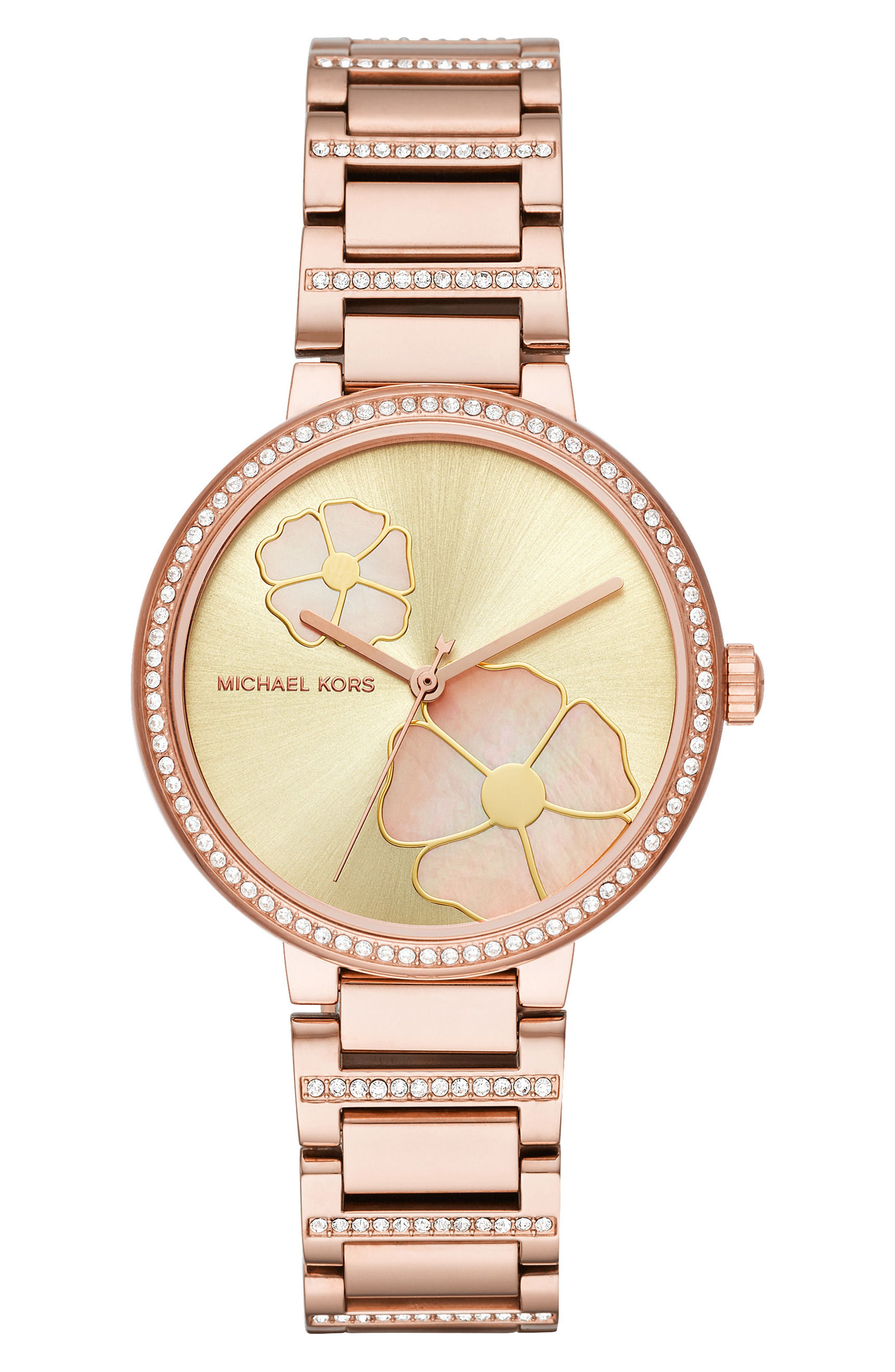 Courtney Crystal Bracelet Watch, 36mm,                             Main thumbnail 1, color,                             Rose Gold/ Gold/ Rose Gold