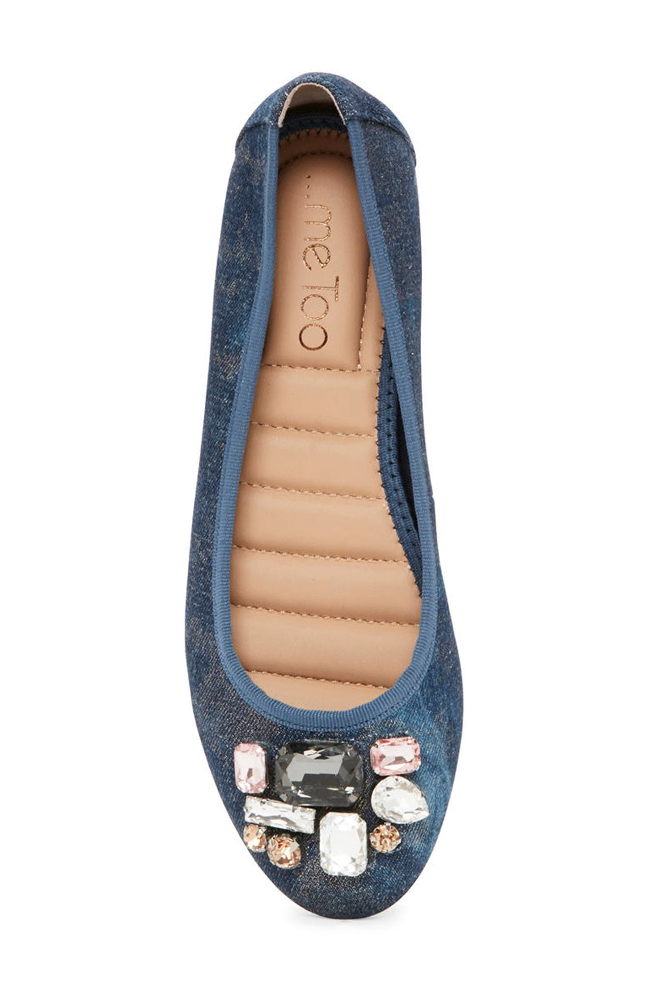Sapphire Crystal Embellished Flat,                             Alternate thumbnail 5, color,                             Blue Champagne Denim Fabric