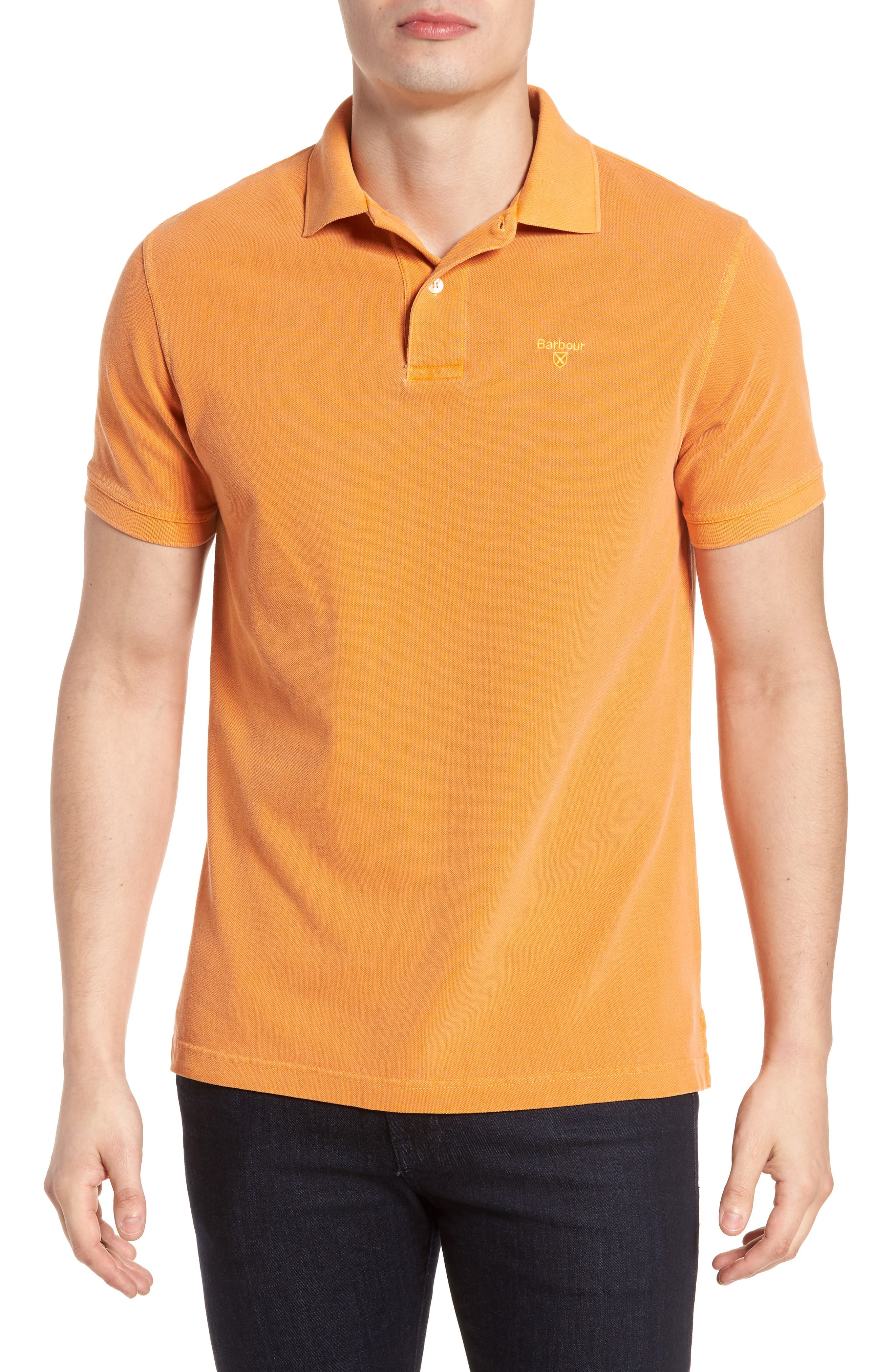 Washed Sports Polo Shirt,                             Main thumbnail 1, color,                             Acid Orange