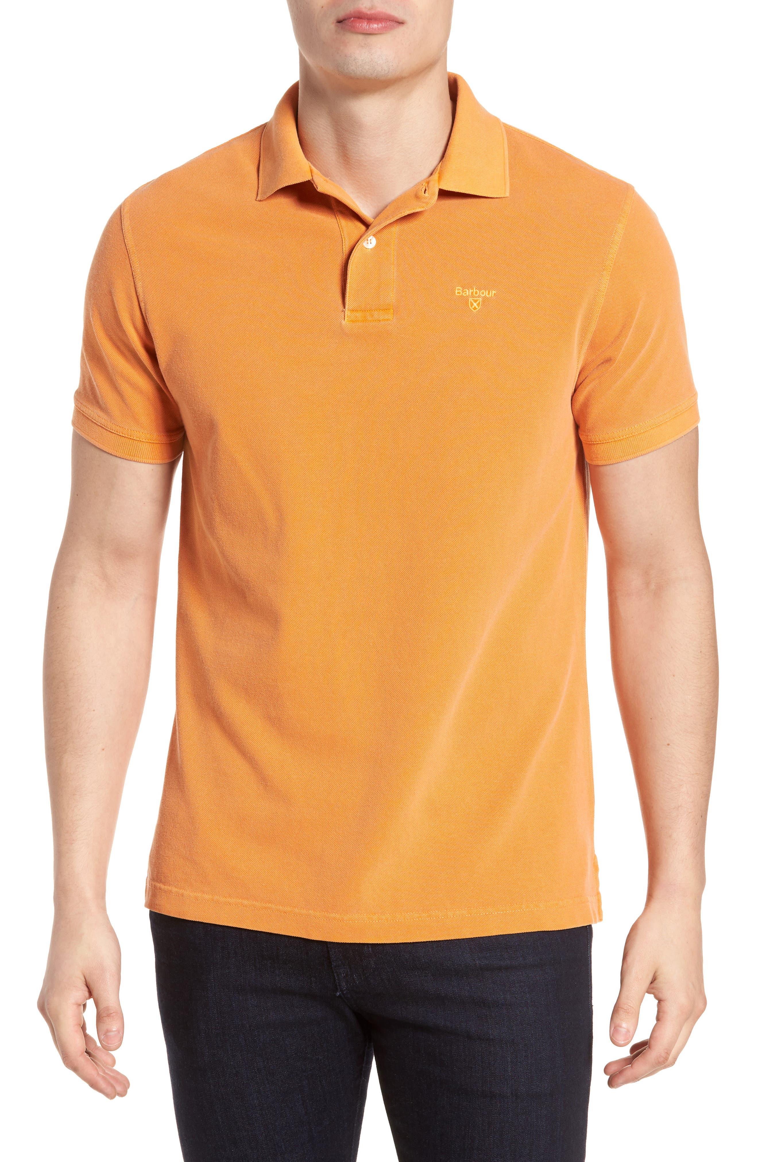 Washed Sports Polo Shirt,                         Main,                         color, Acid Orange