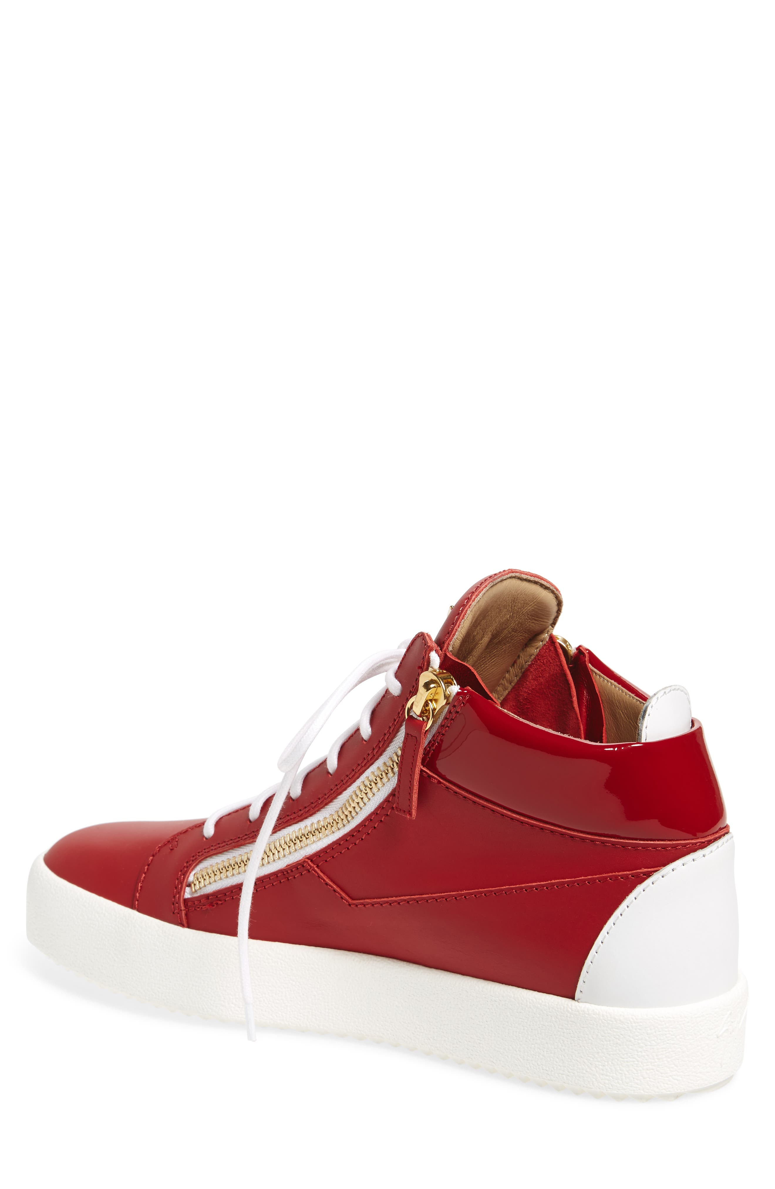 Double Zipper Mid Top Sneaker,                             Alternate thumbnail 2, color,                             Red W/ White Leather