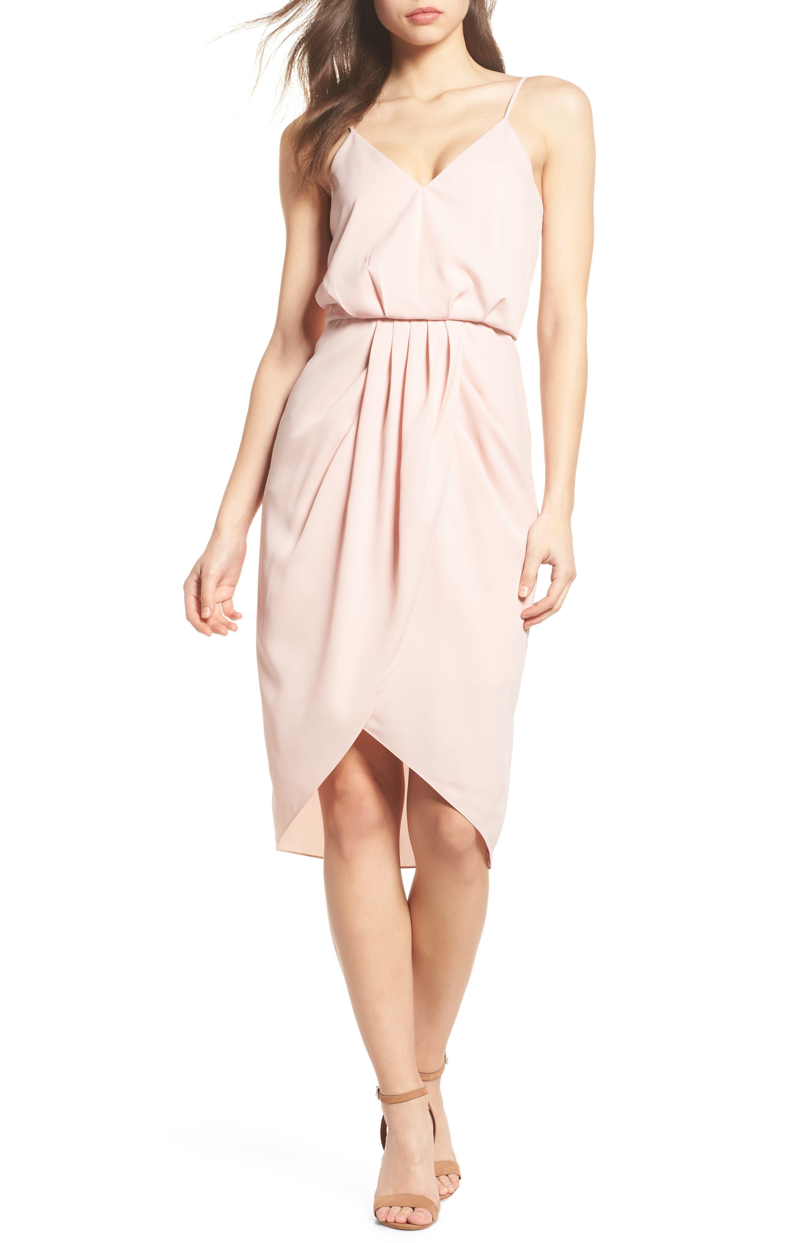 Print Faux Wrap Dress,                         Main,                         color, Pink Peach