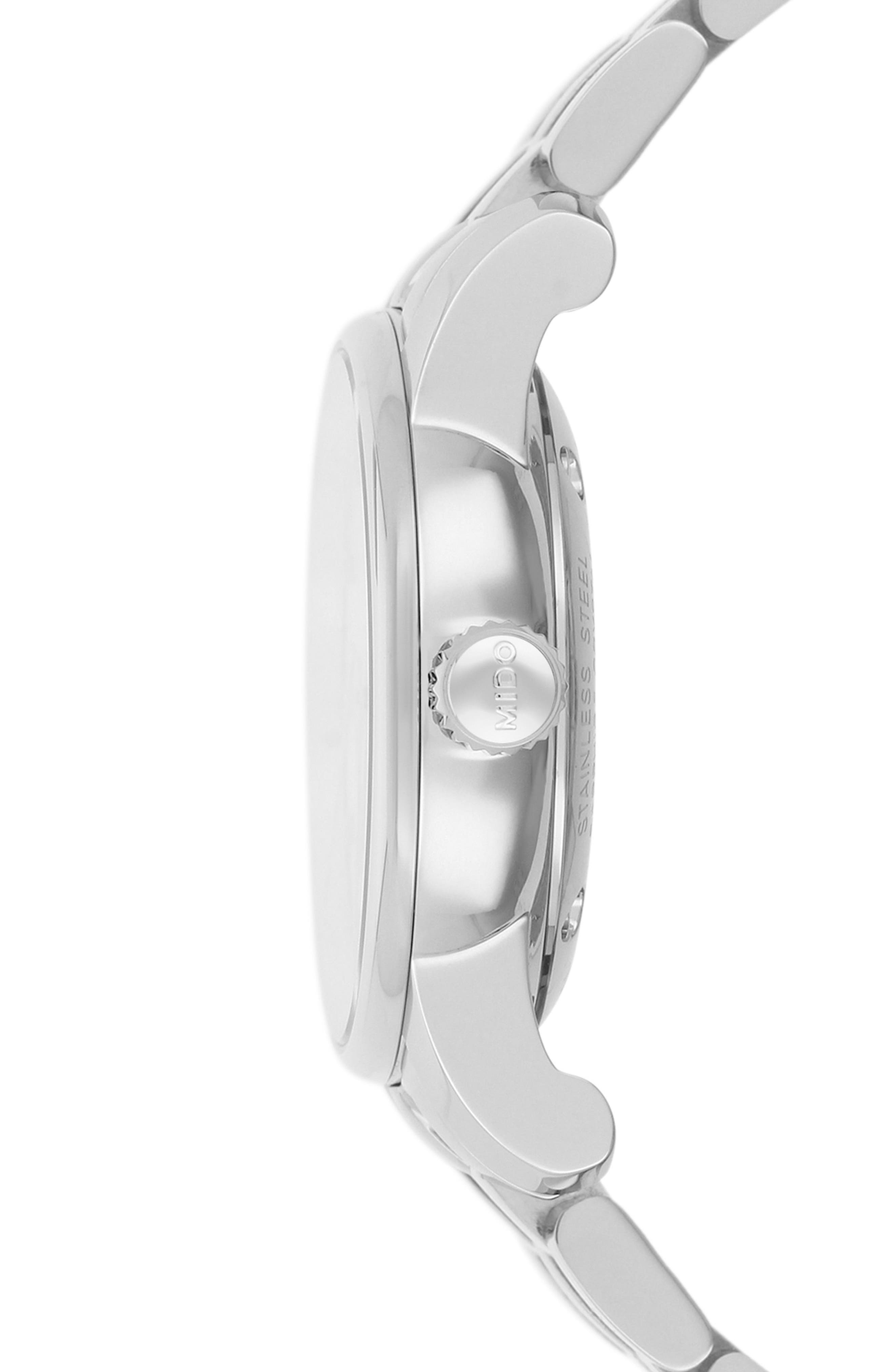 Baroncelli II Automatic Bracelet Watch, 29mm,                             Alternate thumbnail 2, color,                             Silver/ White/ Silver