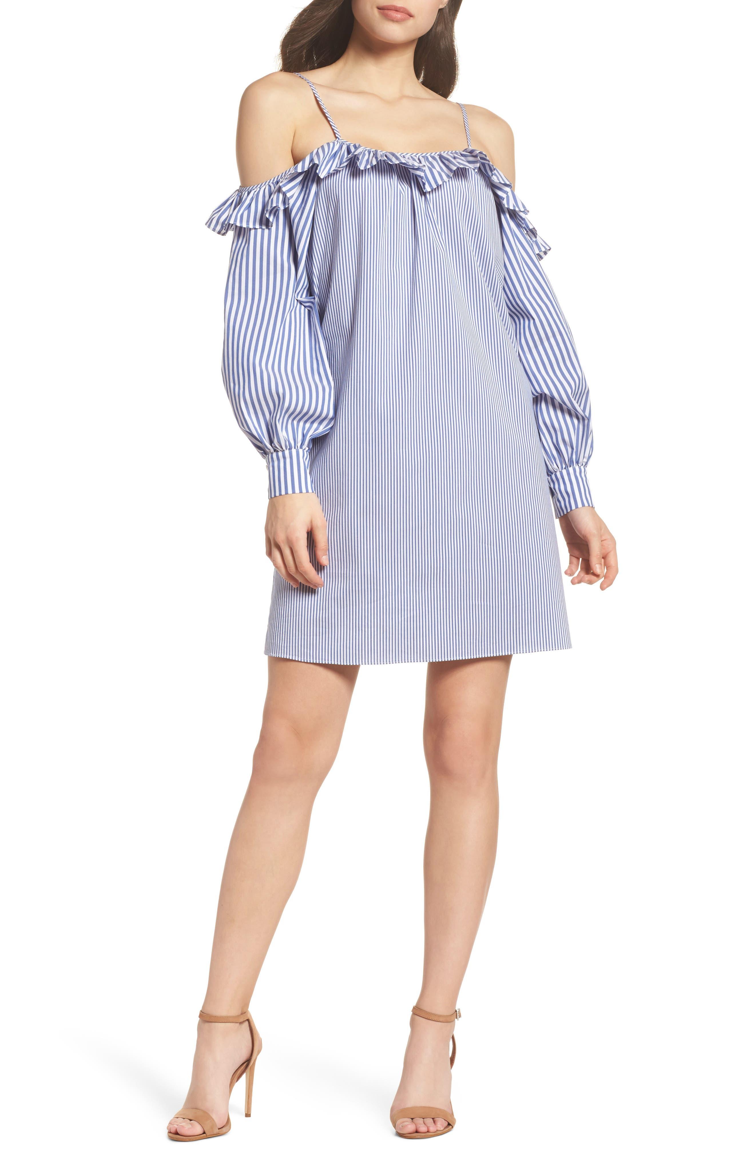 Cold Shoulder Ruffle Stripe Dress,                         Main,                         color, Blue/ White