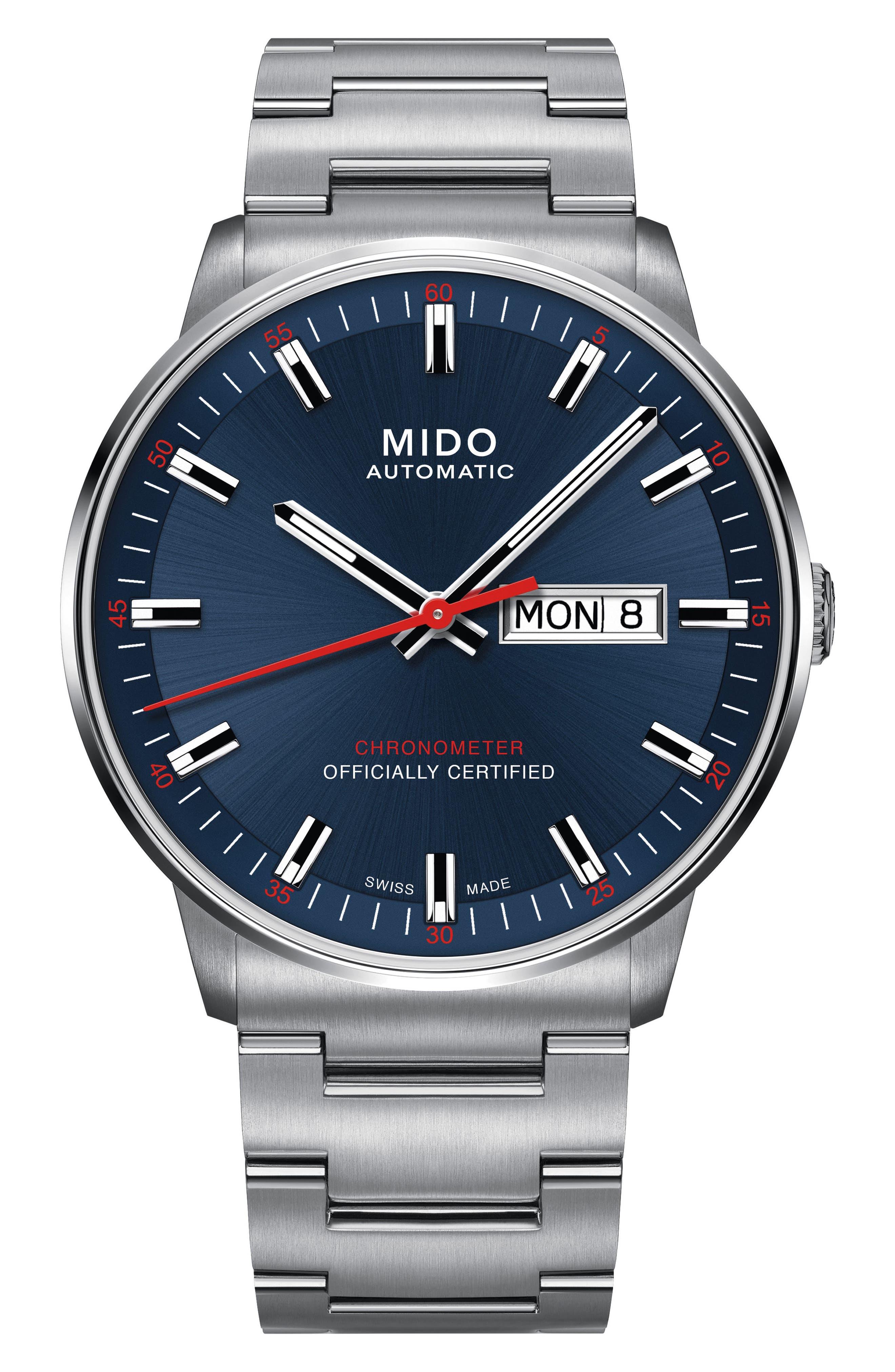 Commander Chronometer Bracelet Watch, 40mm,                         Main,                         color, Silver/ Blue/ Silver