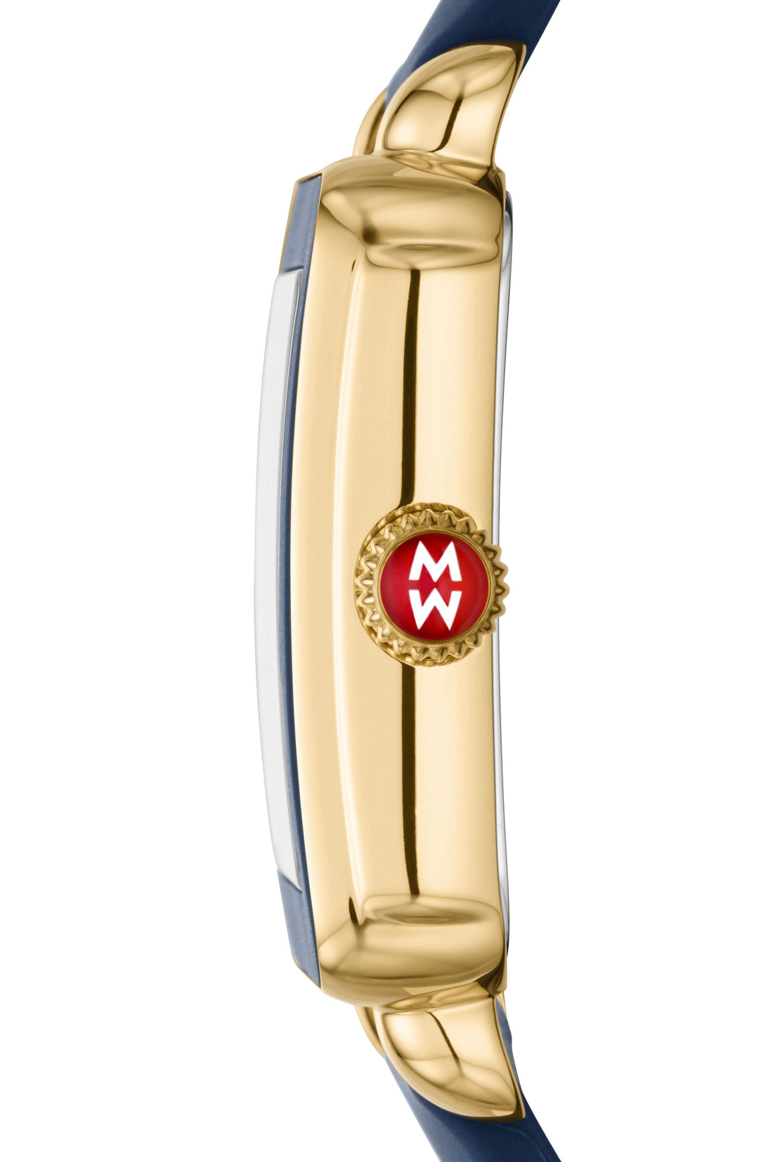 Alternate Image 2  - MICHELE Deco Sport Watch Head & Silicone Strap Watch, 34mm x 36mm