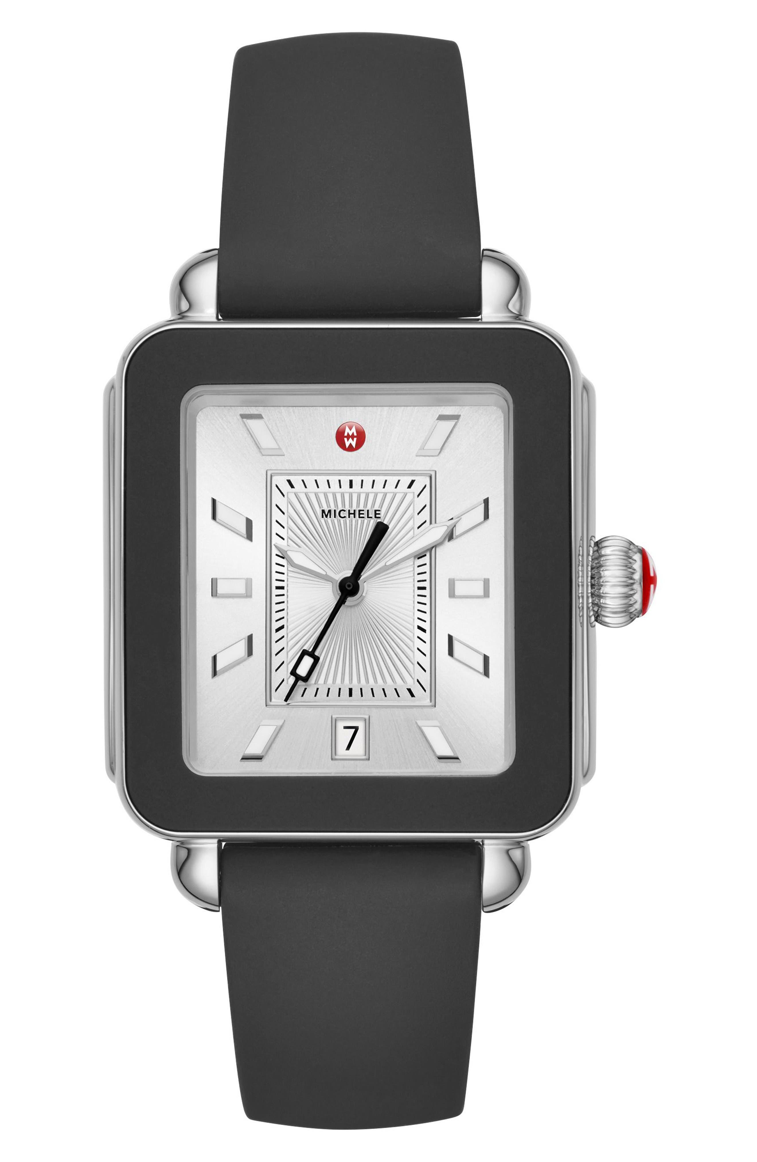 MICHELE Deco Sport Watch Head & Silicone Strap Watch, 34Mm X 36Mm in Black/ Silver/ Silver