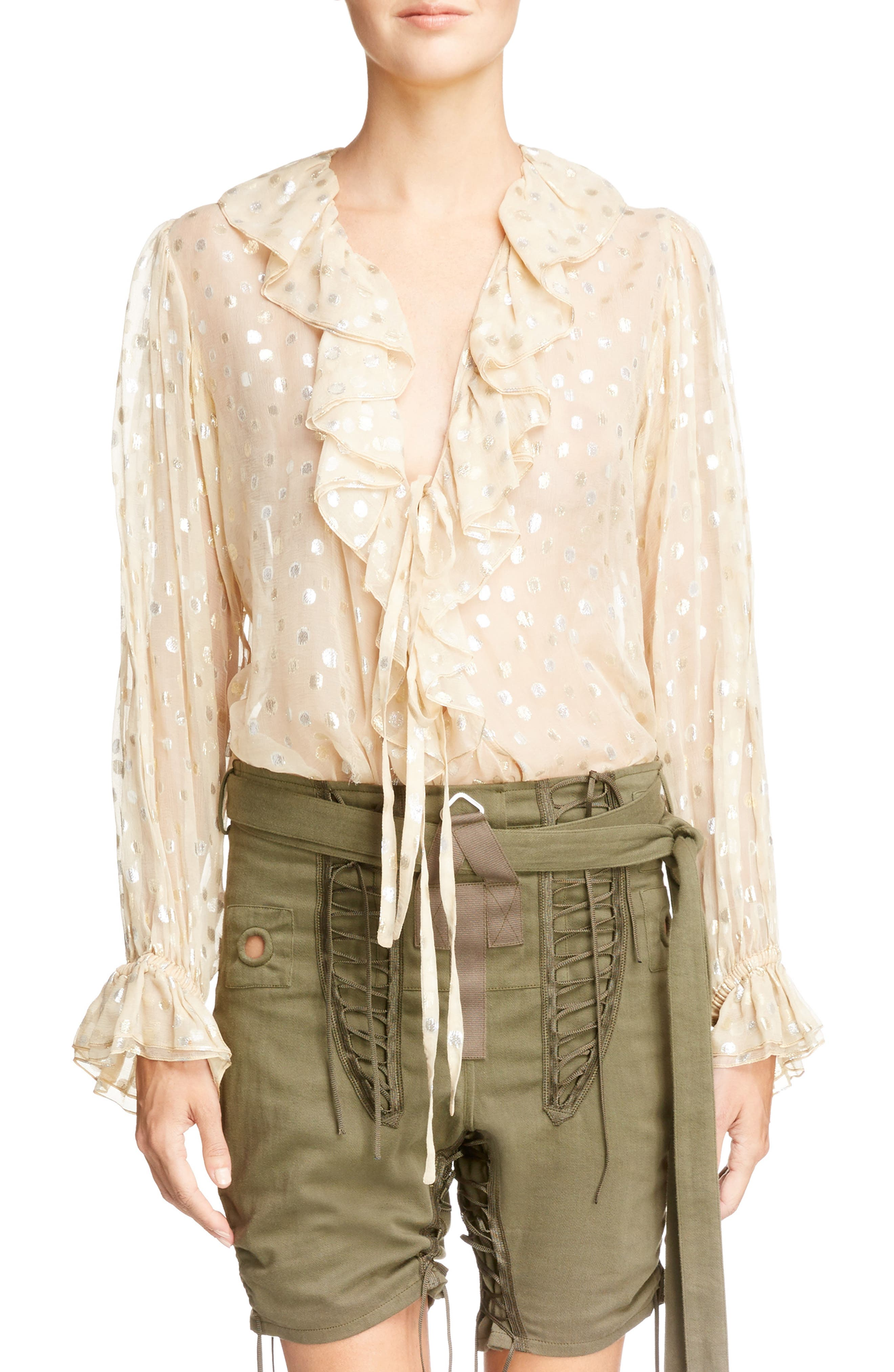 Saint Laurent Metallic Dot Ruffled Georgette Blouse