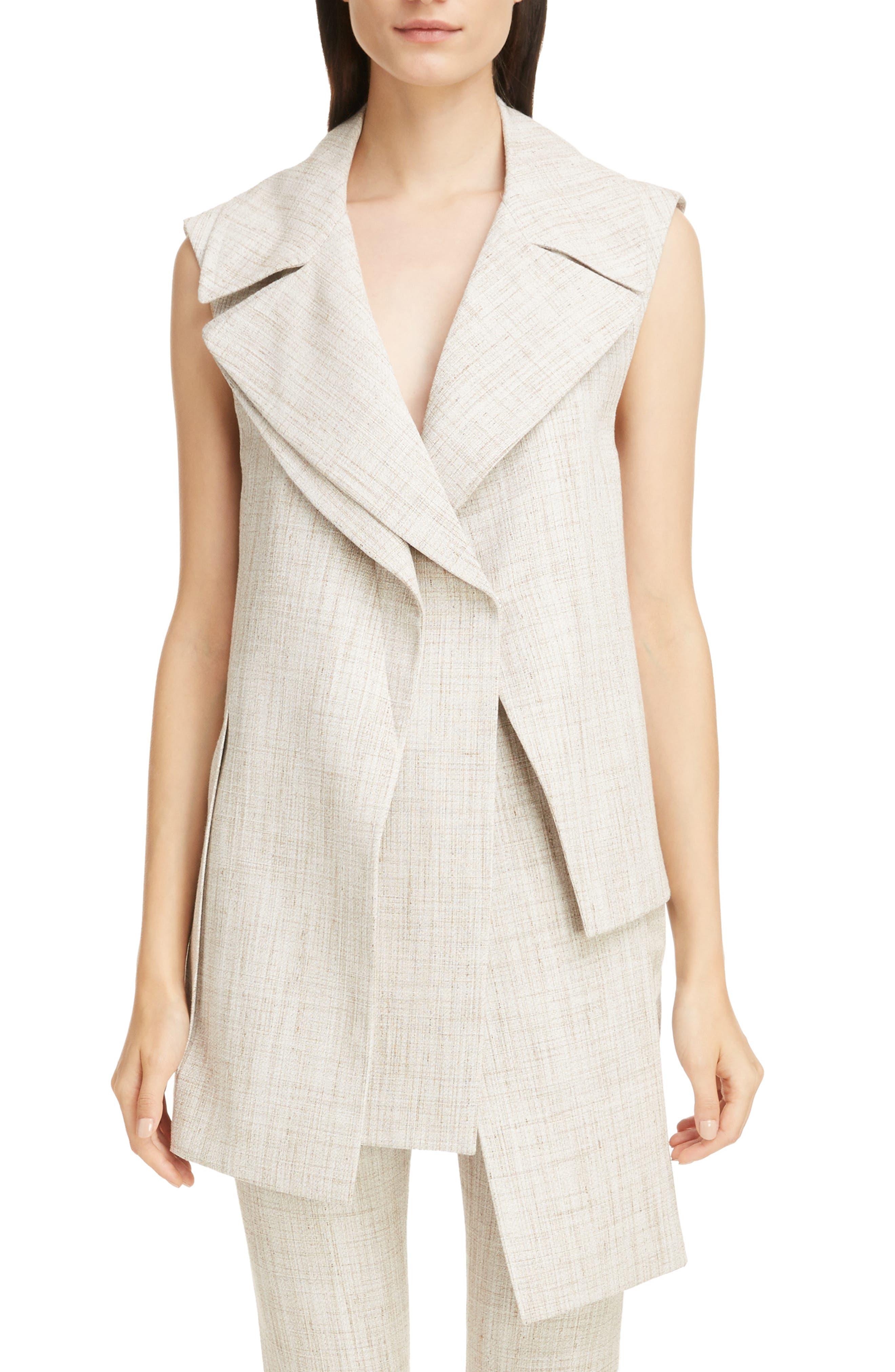 Asymmetrical Tweed Vest,                         Main,                         color, White-Beige