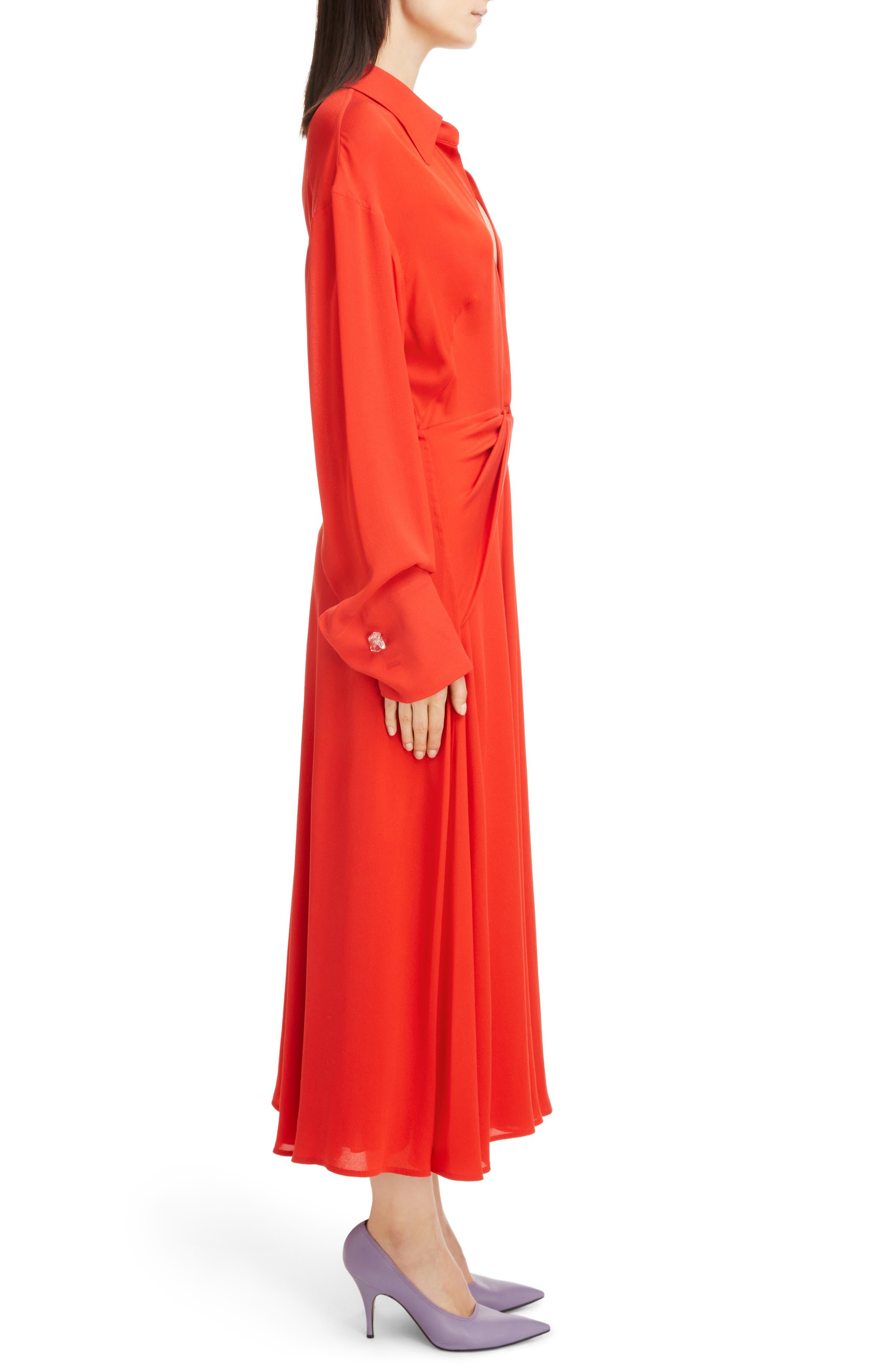 Twist Waist Silk Dress,                             Alternate thumbnail 5, color,                             Bright Red