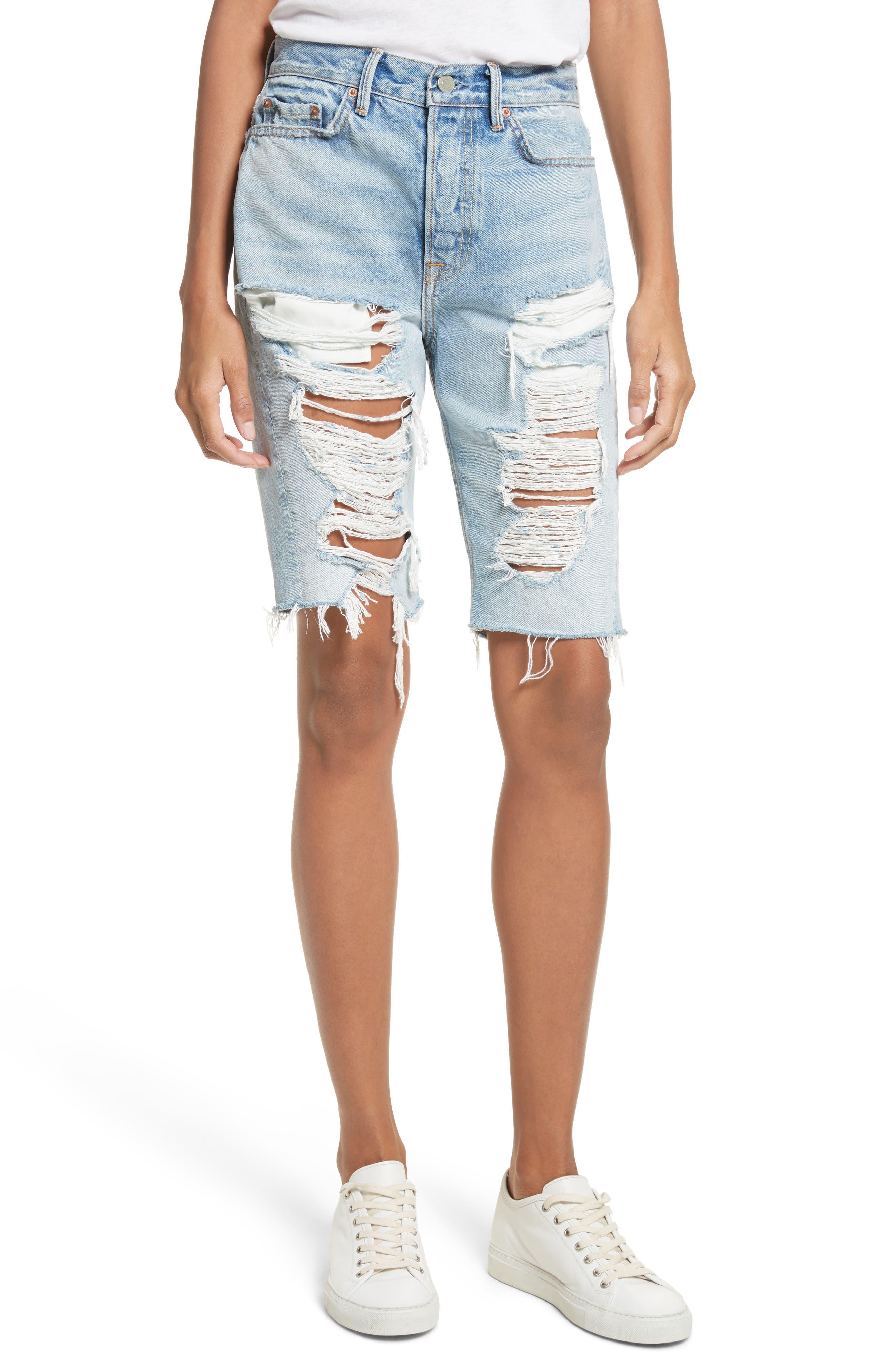 GRLFRND Beverly Ripped Bermuda Denim Shorts (Beaten Gold)