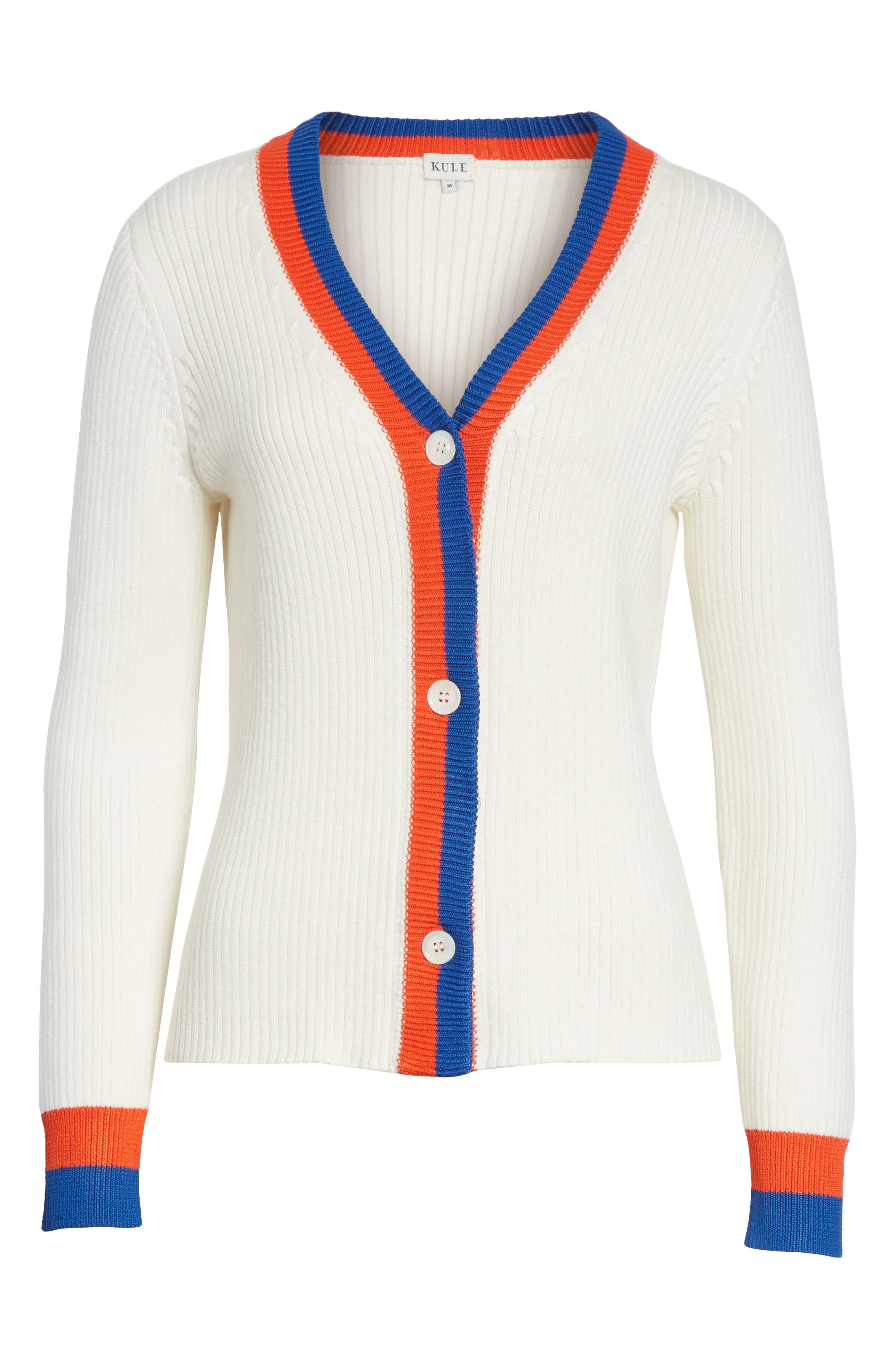 The Thompson Button Cardigan,                             Alternate thumbnail 6, color,                             Cream/ Poppy/ Navy