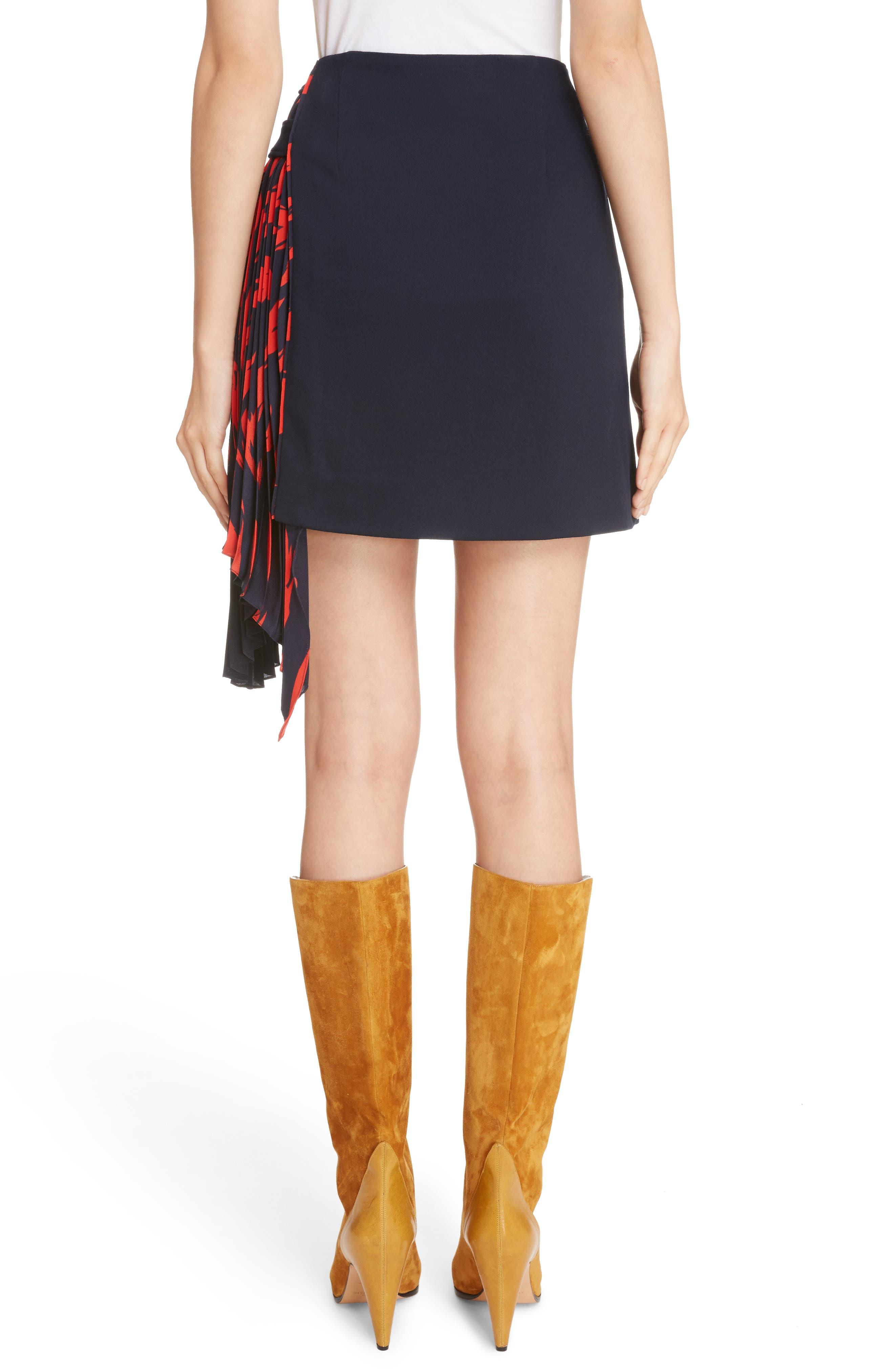 Pleat Panel Wool Skirt,                             Alternate thumbnail 3, color,                             Navy/ Red