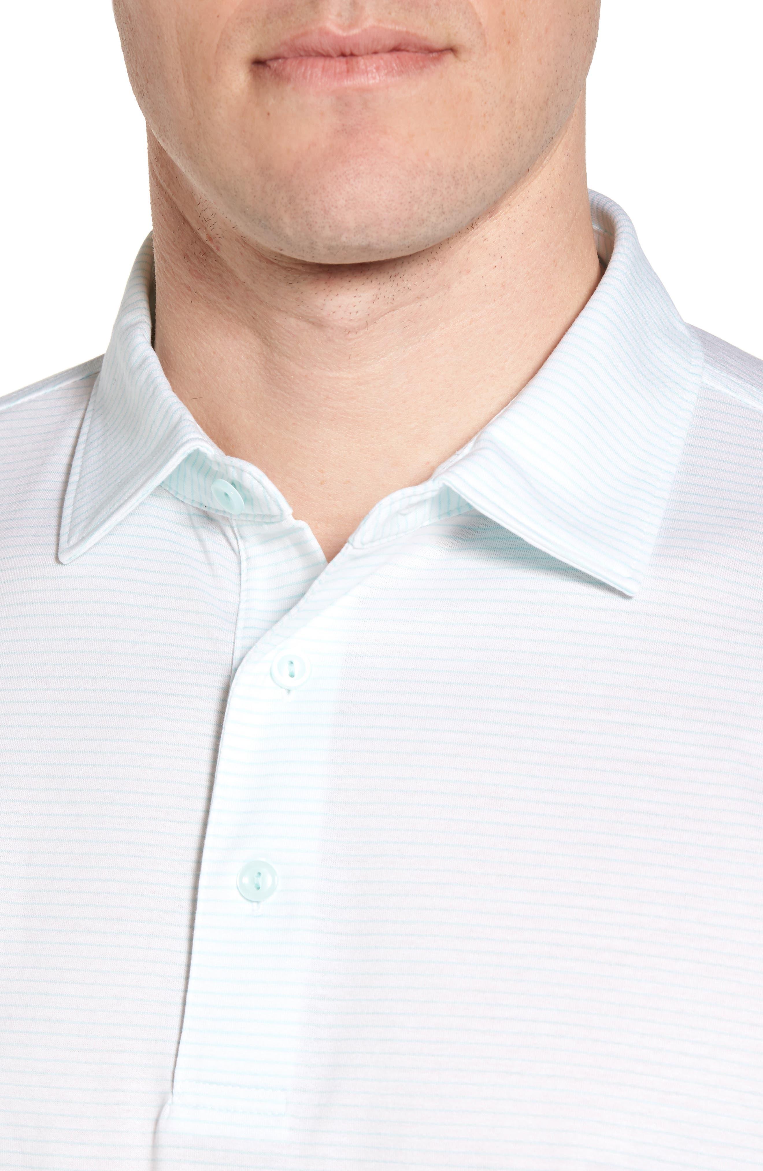 Sean Heritage Stripe Nanoluxe Polo,                             Alternate thumbnail 4, color,                             White/ Heron Blue