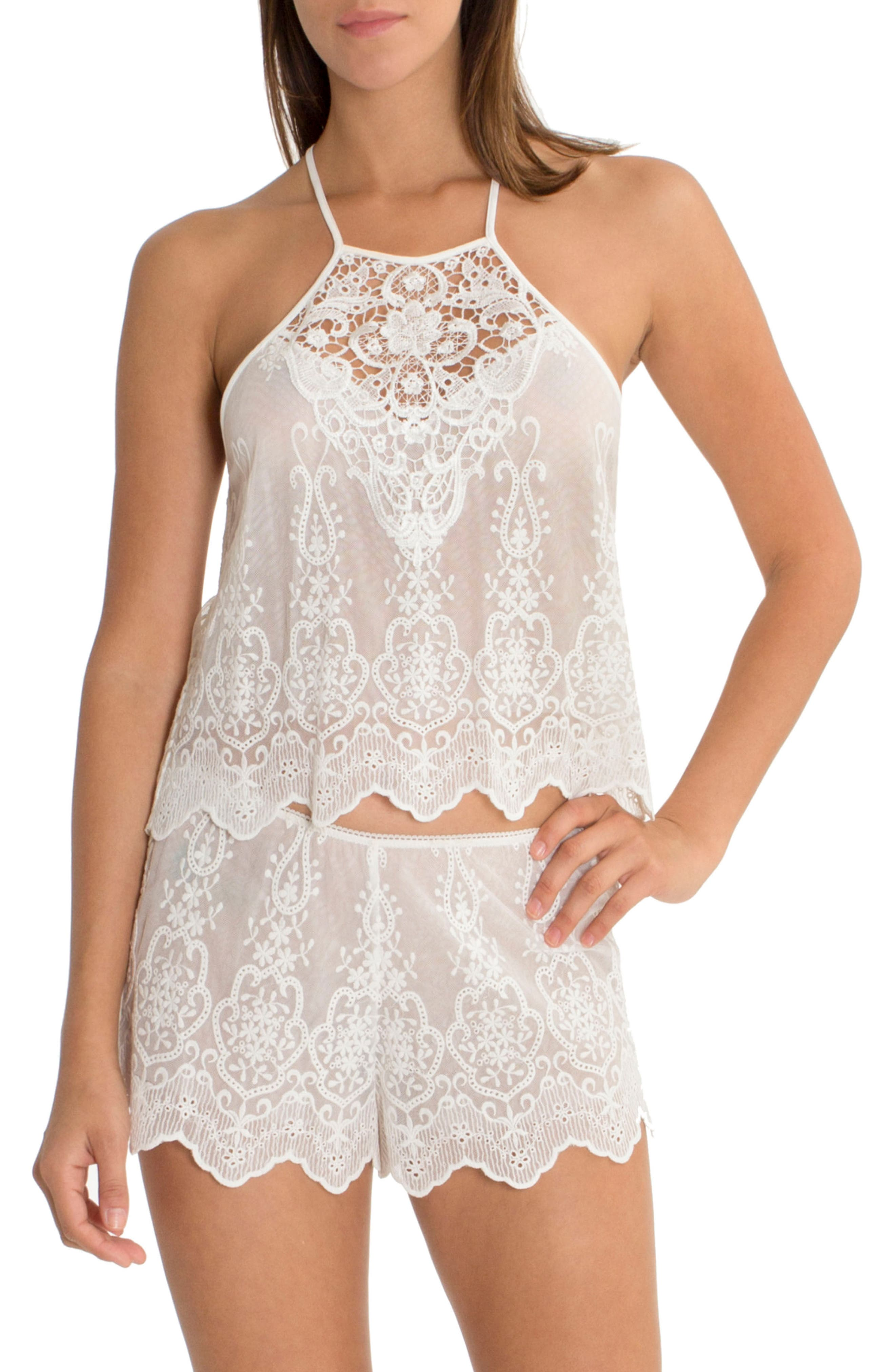 Embroidered Mesh Short Pajamas,                         Main,                         color, Ivory