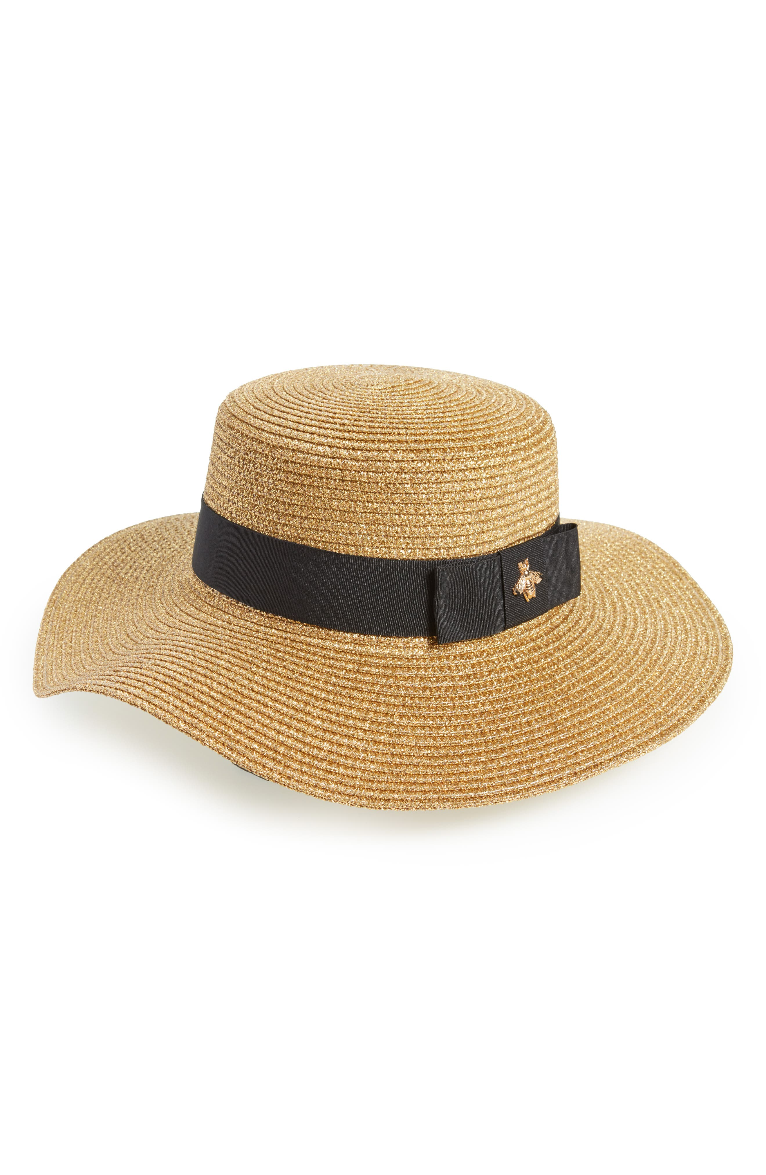 Glitter Bee Boater Hat,                             Main thumbnail 1, color,                             Natural/ Black