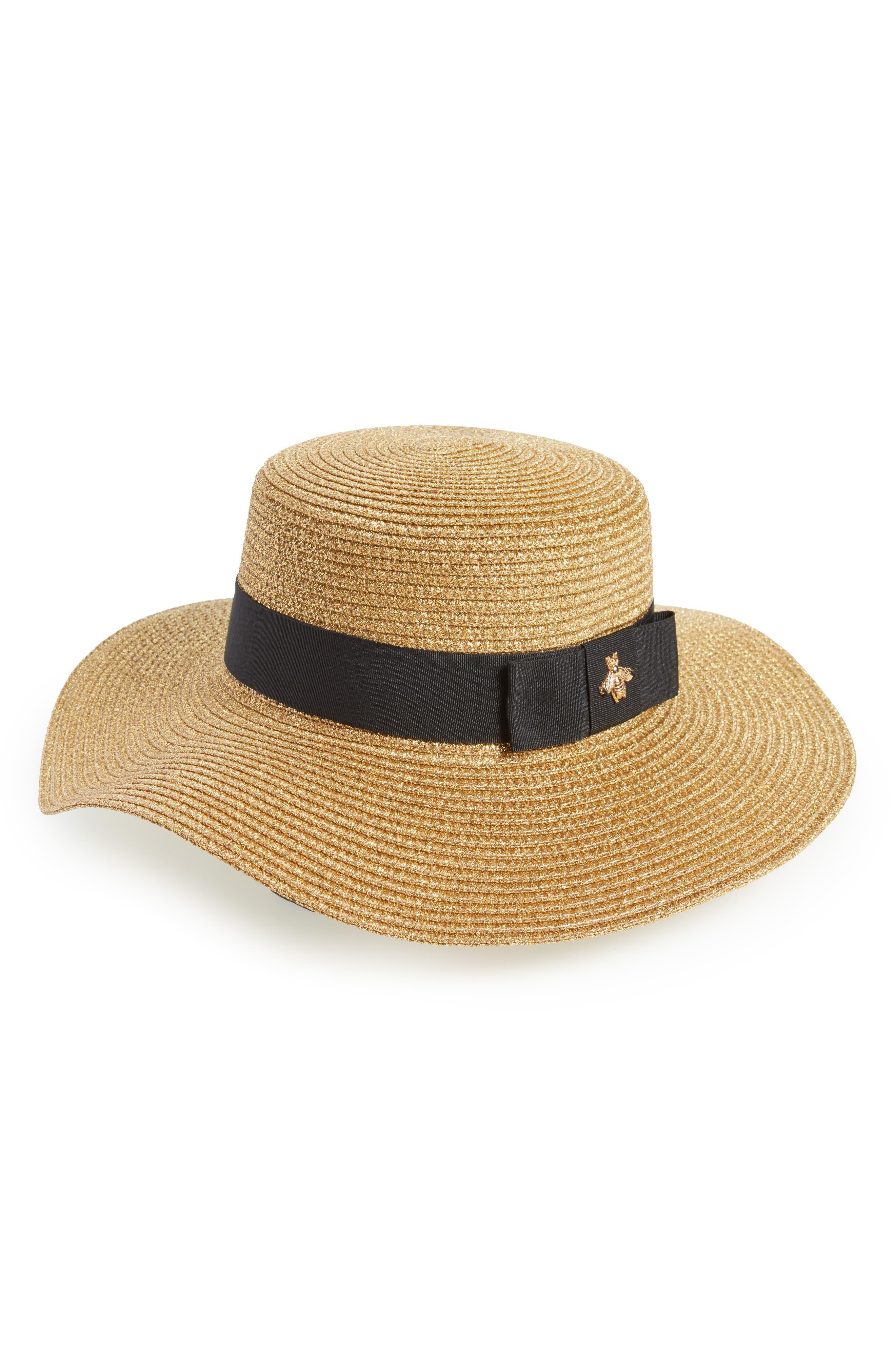 Glitter Bee Boater Hat,                         Main,                         color, Natural/ Black