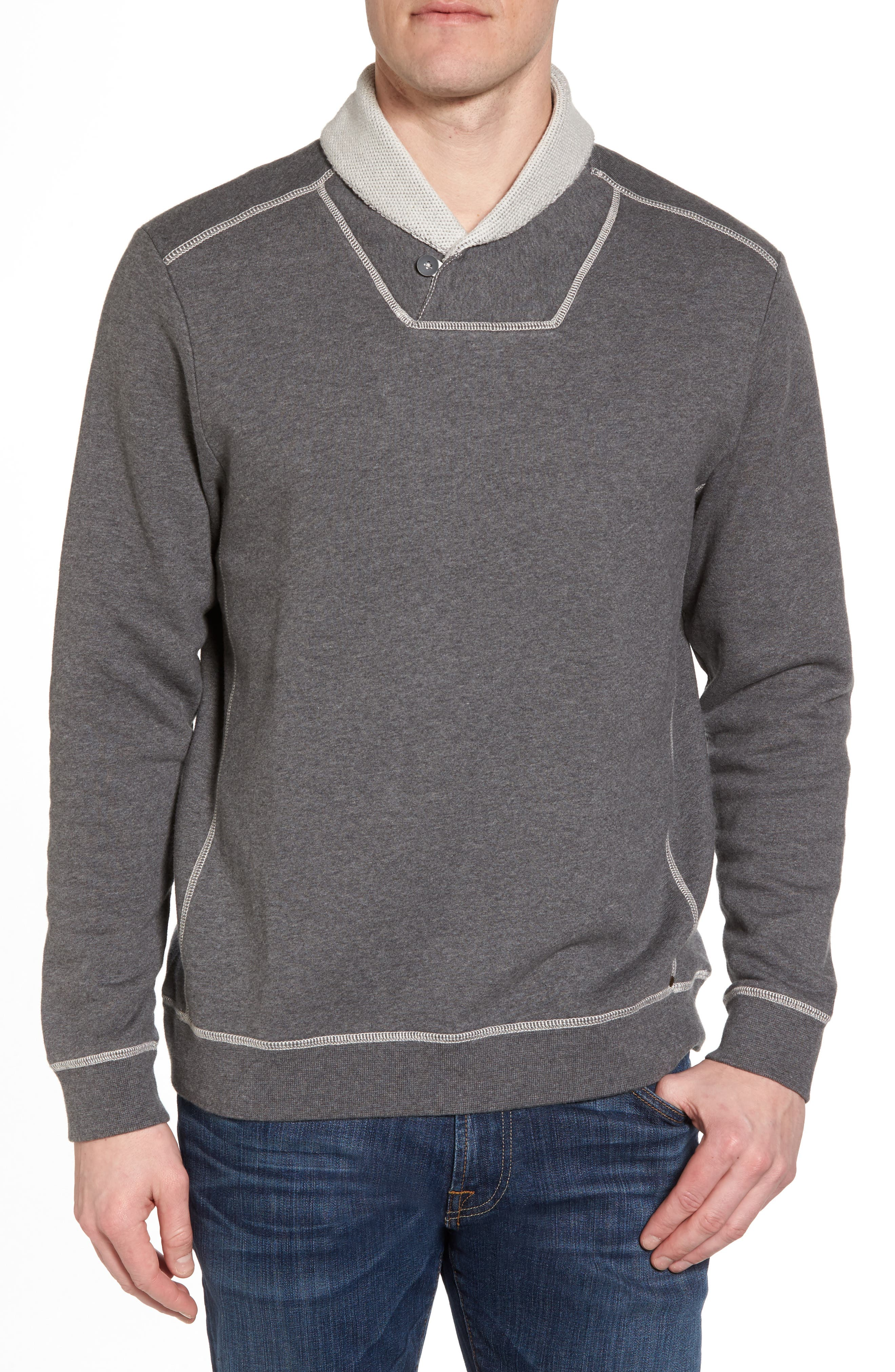 Shorecrest Shawl Collar Pullover,                         Main,                         color, Charcoal Heather