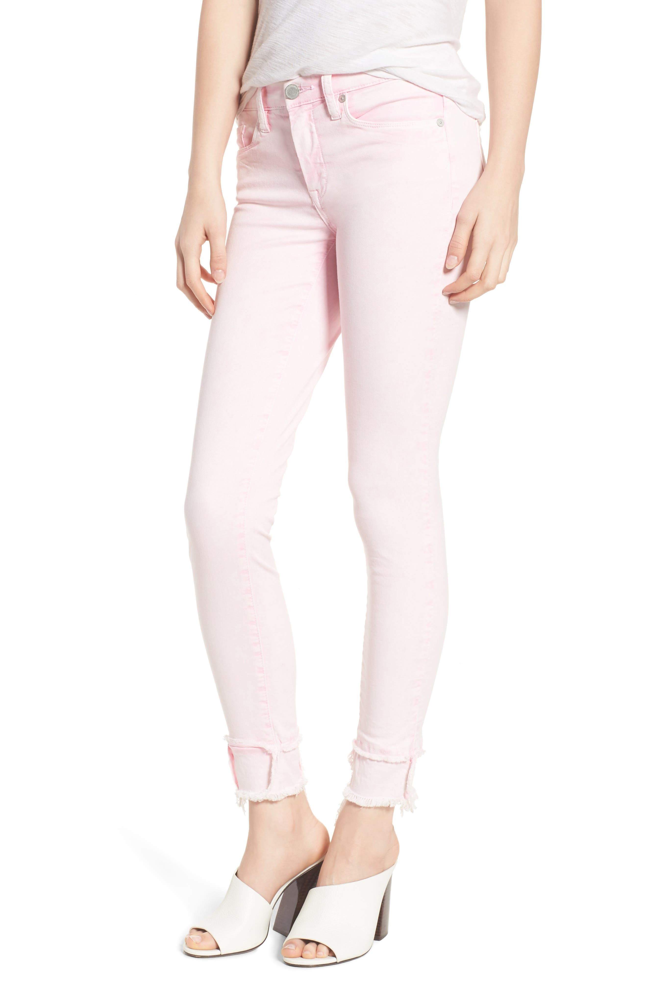 The Reade Classic Raw Hem Skinny Jeans,                             Main thumbnail 1, color,                             Pink