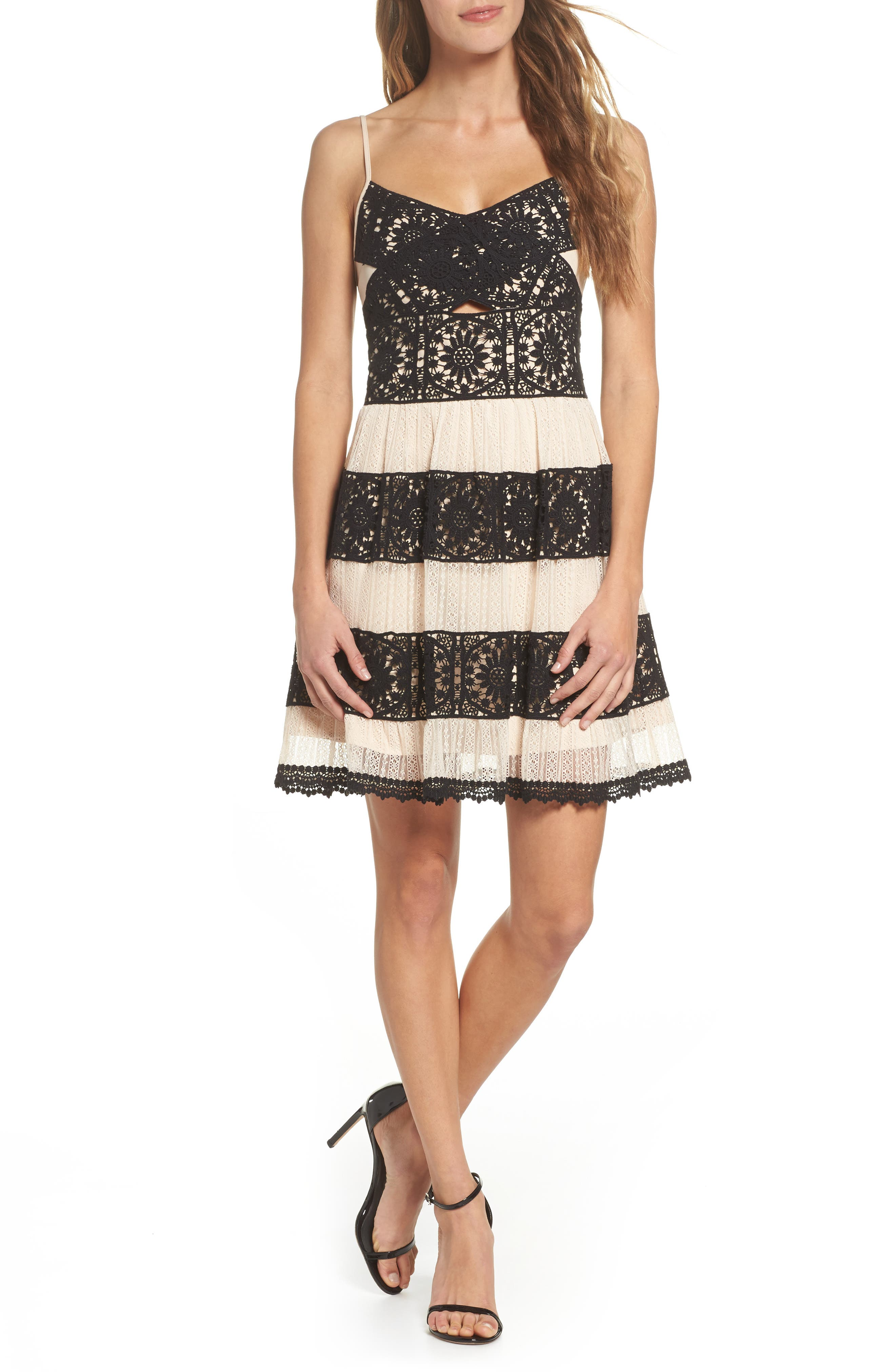 Ophelia Two-Tone Lace Fit & Flare Dress,                             Main thumbnail 1, color,                             Black/ Nude