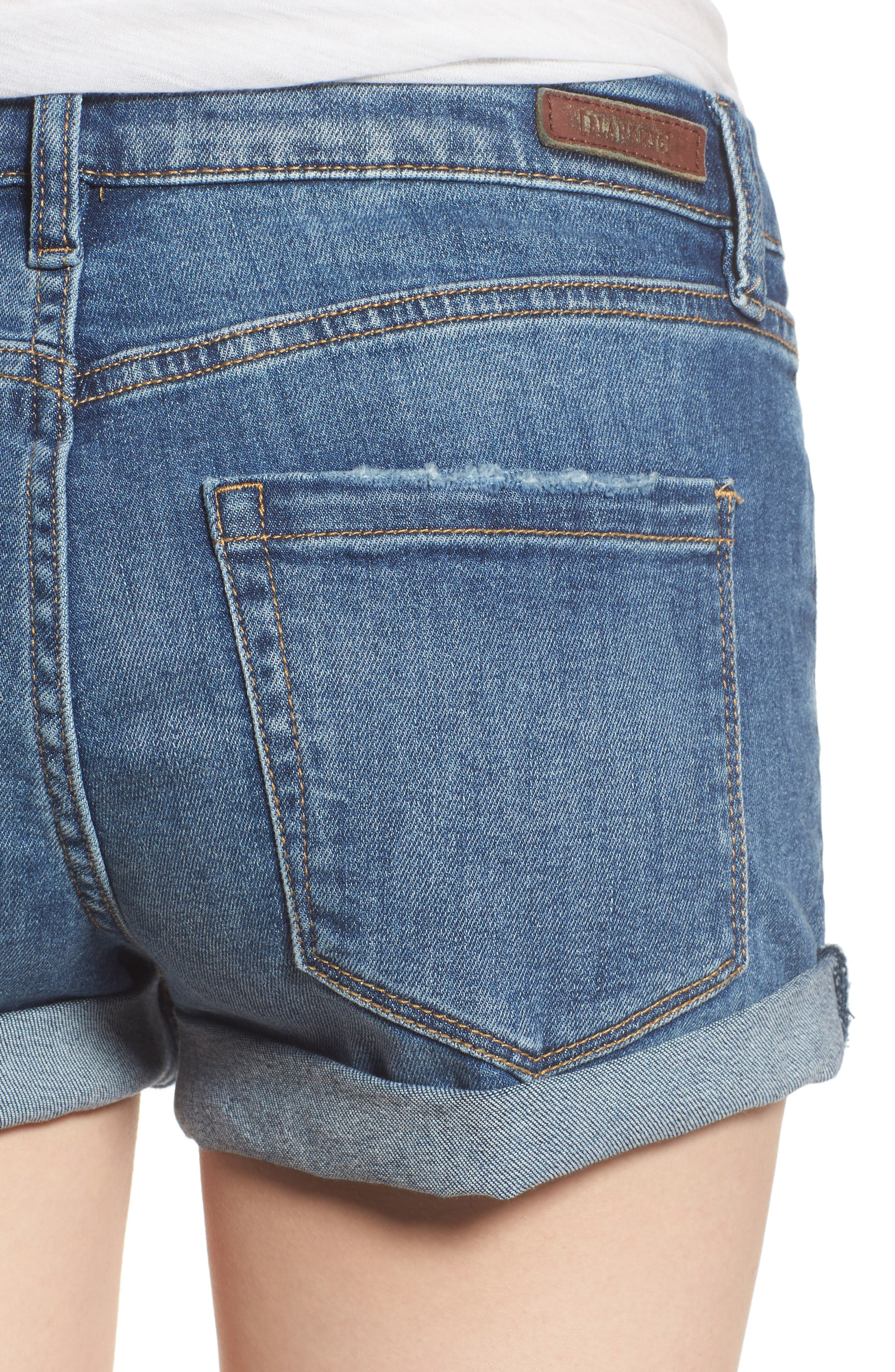 Plalay Hard Cuffed Jean Shorts,                             Alternate thumbnail 4, color,                             Blue