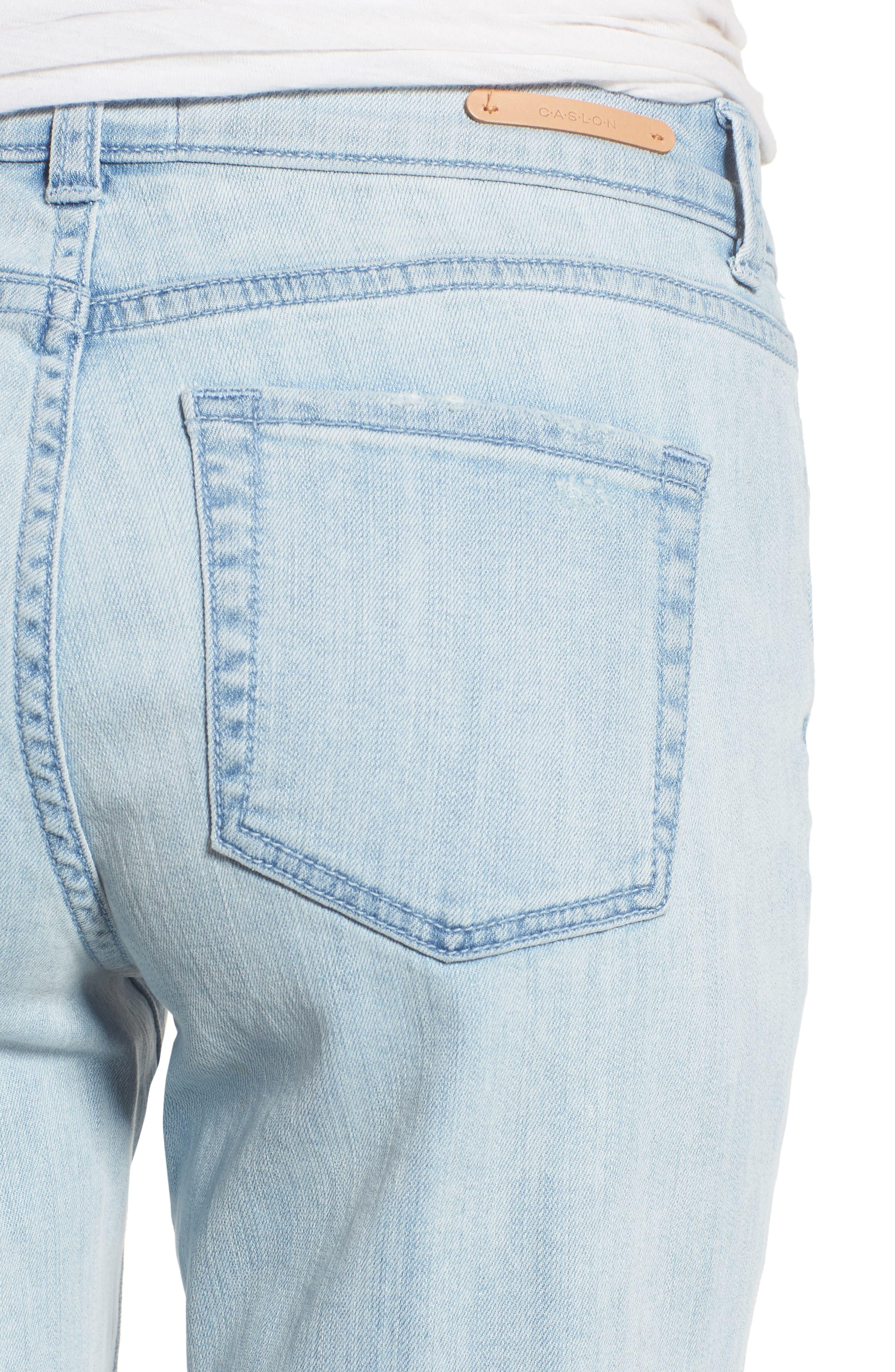 Distressed Boyfriend Jeans,                             Alternate thumbnail 4, color,                             Platinum Light Wash